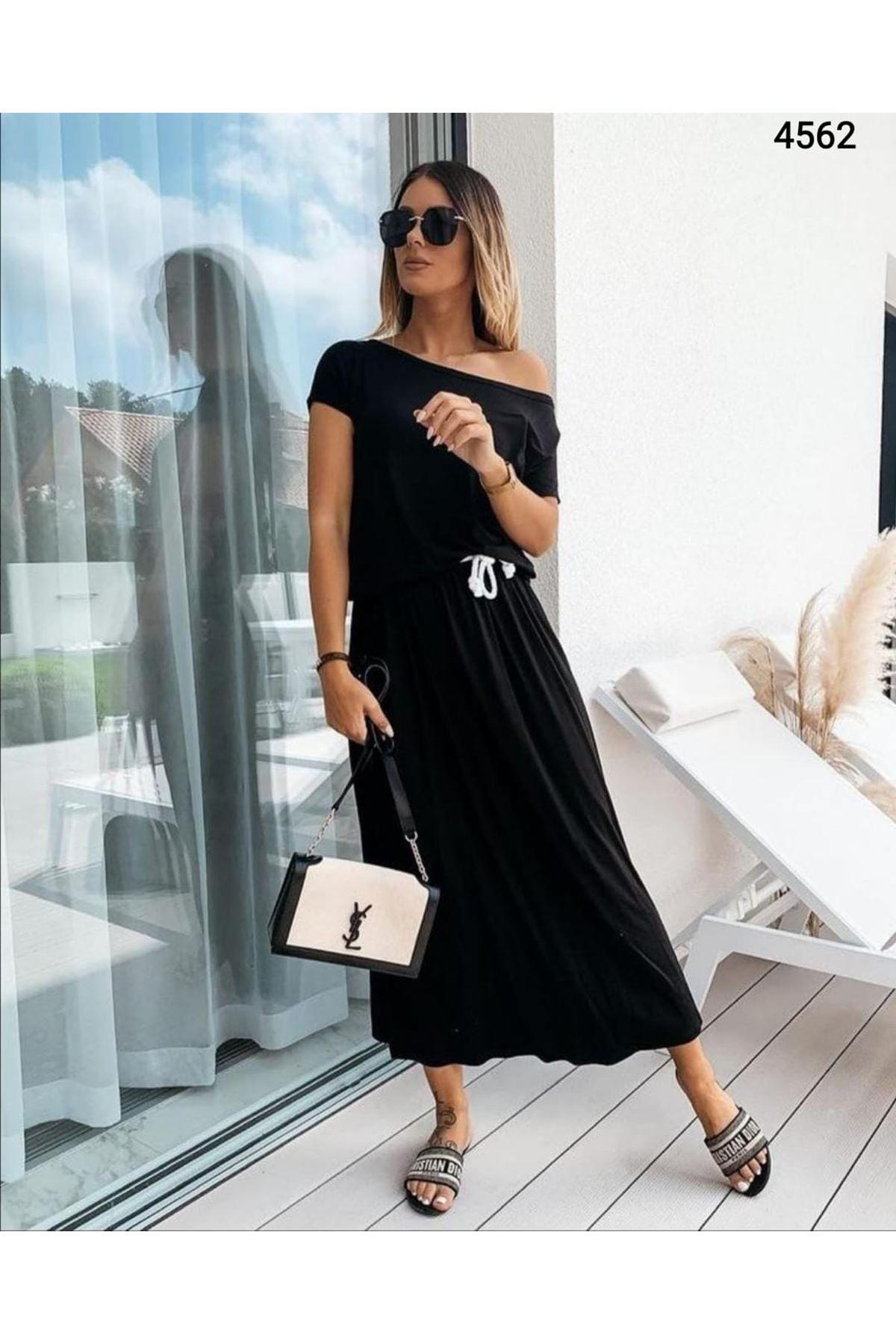 Tek Omuz Bağcıklı Elbise - Siyah