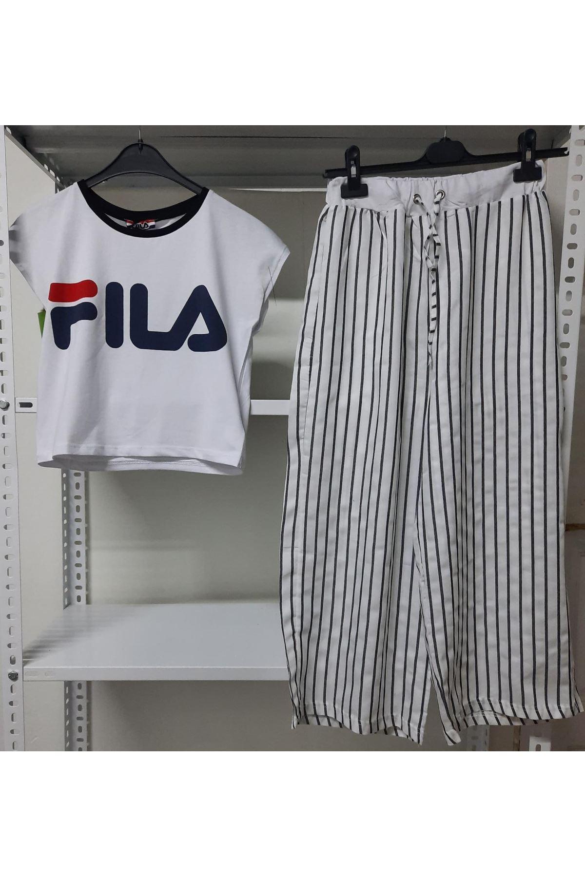 FL Model Çizgili Takım - Beyaz