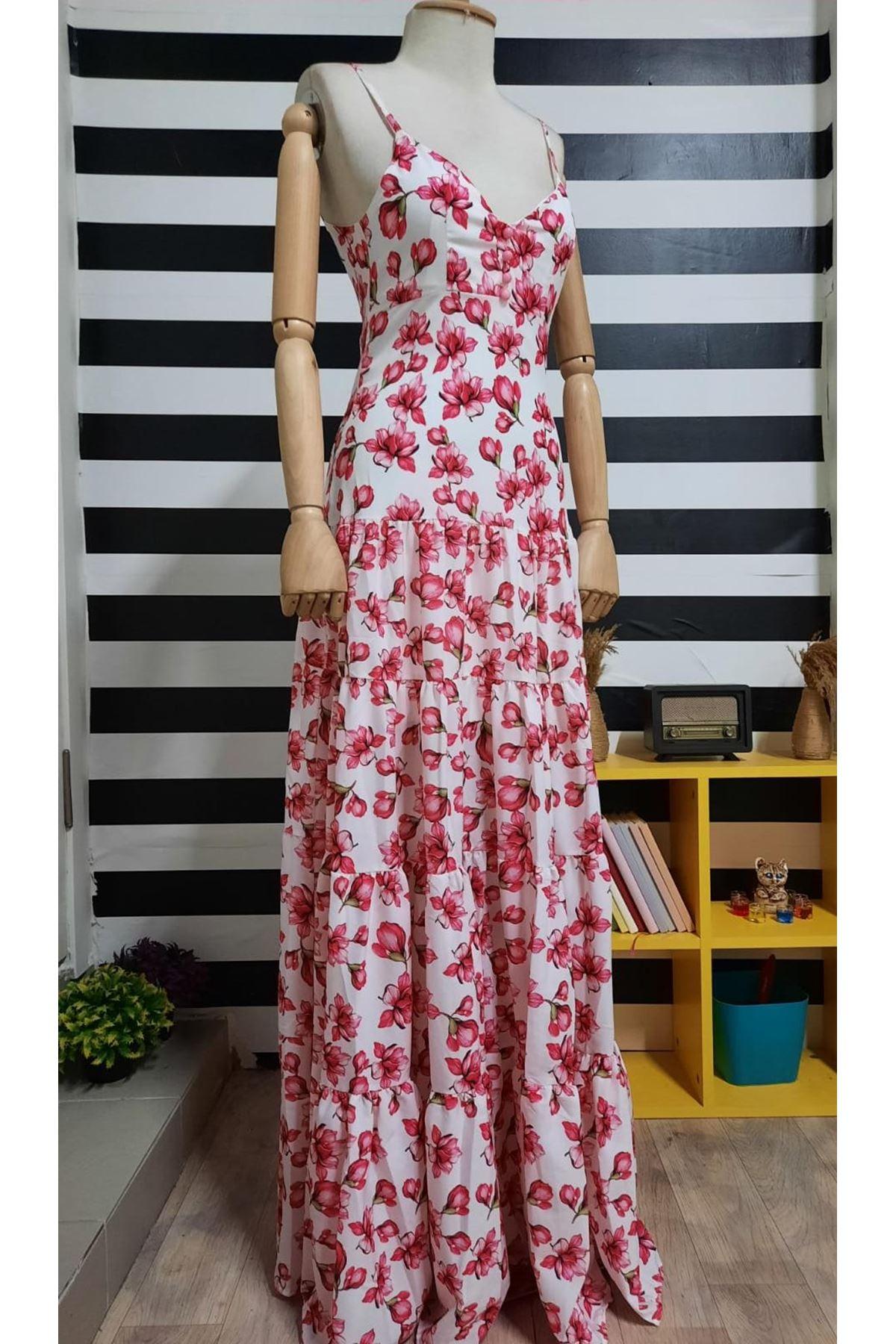 Çiçek Desen Askılı Maxi Elbise - Beyaz