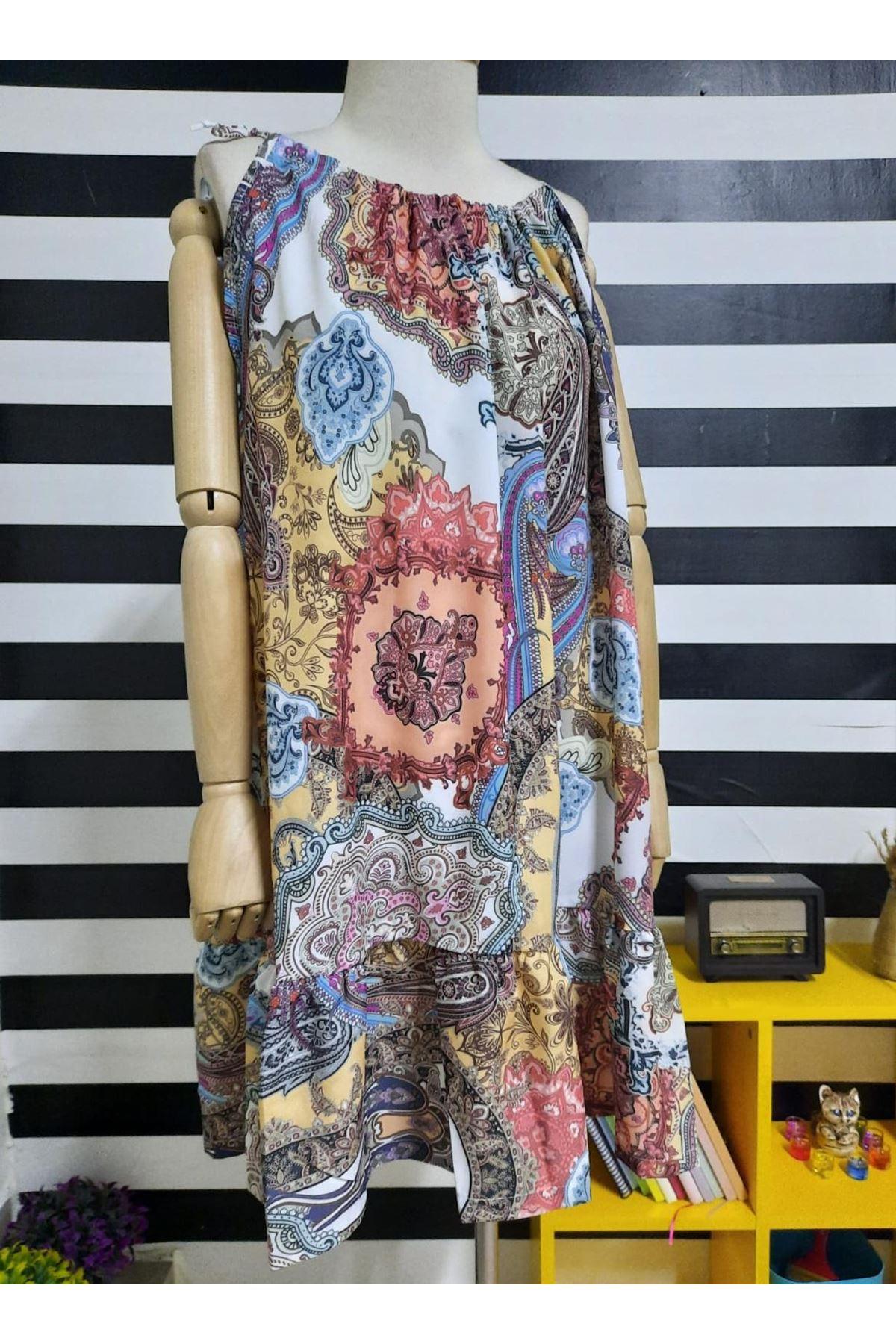 Etnik Desen Boyun Askılı Elbise - MULTİ