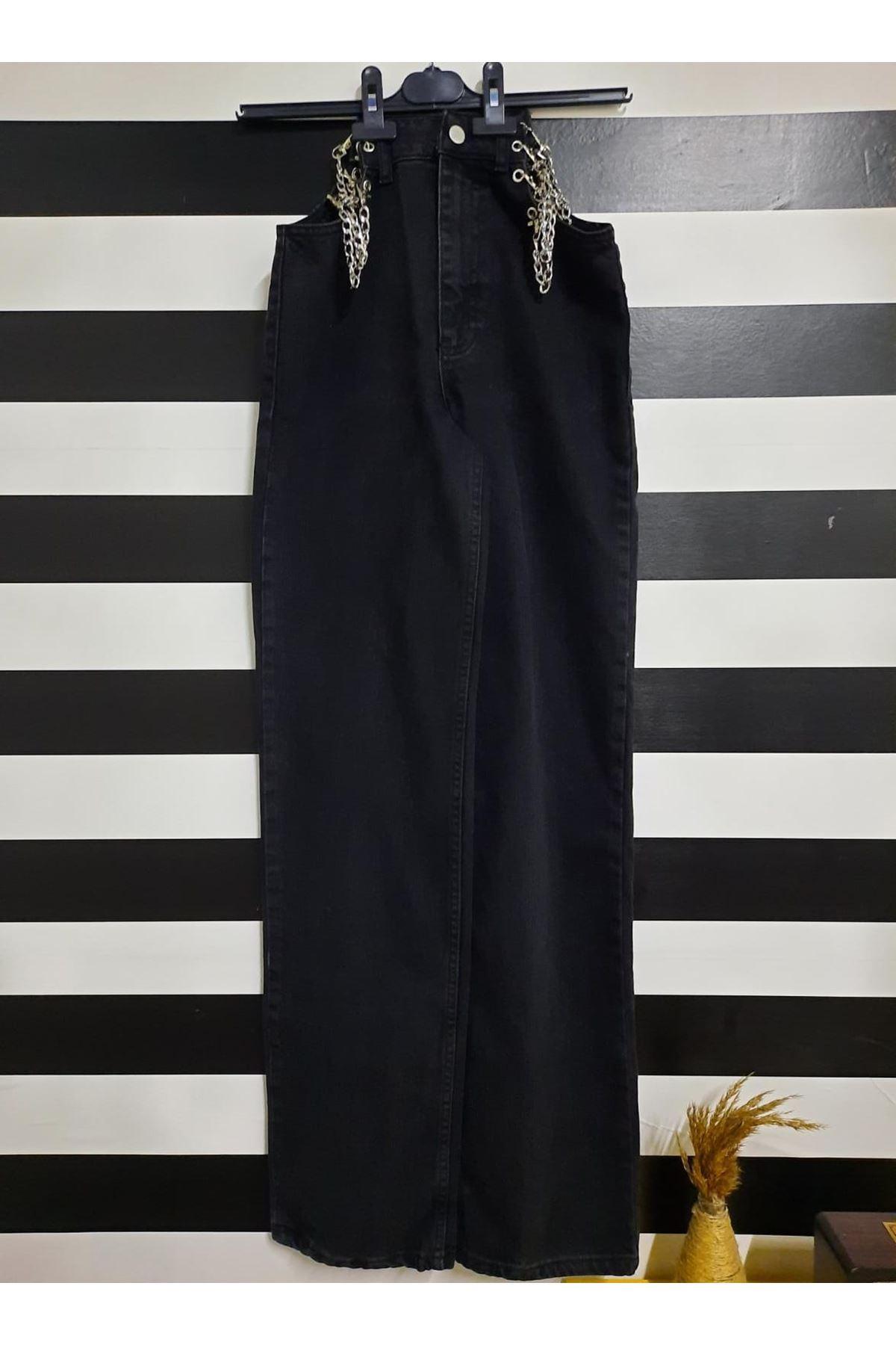 Bel Zincir Detaylı Kot Pantolon - Siyah