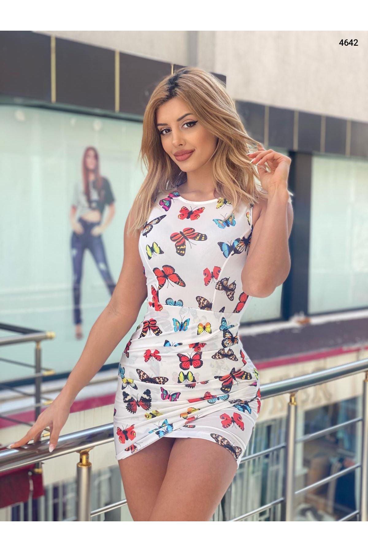 Kelebek Desenli Sırt Dekolteli Elbise - BEYAZ