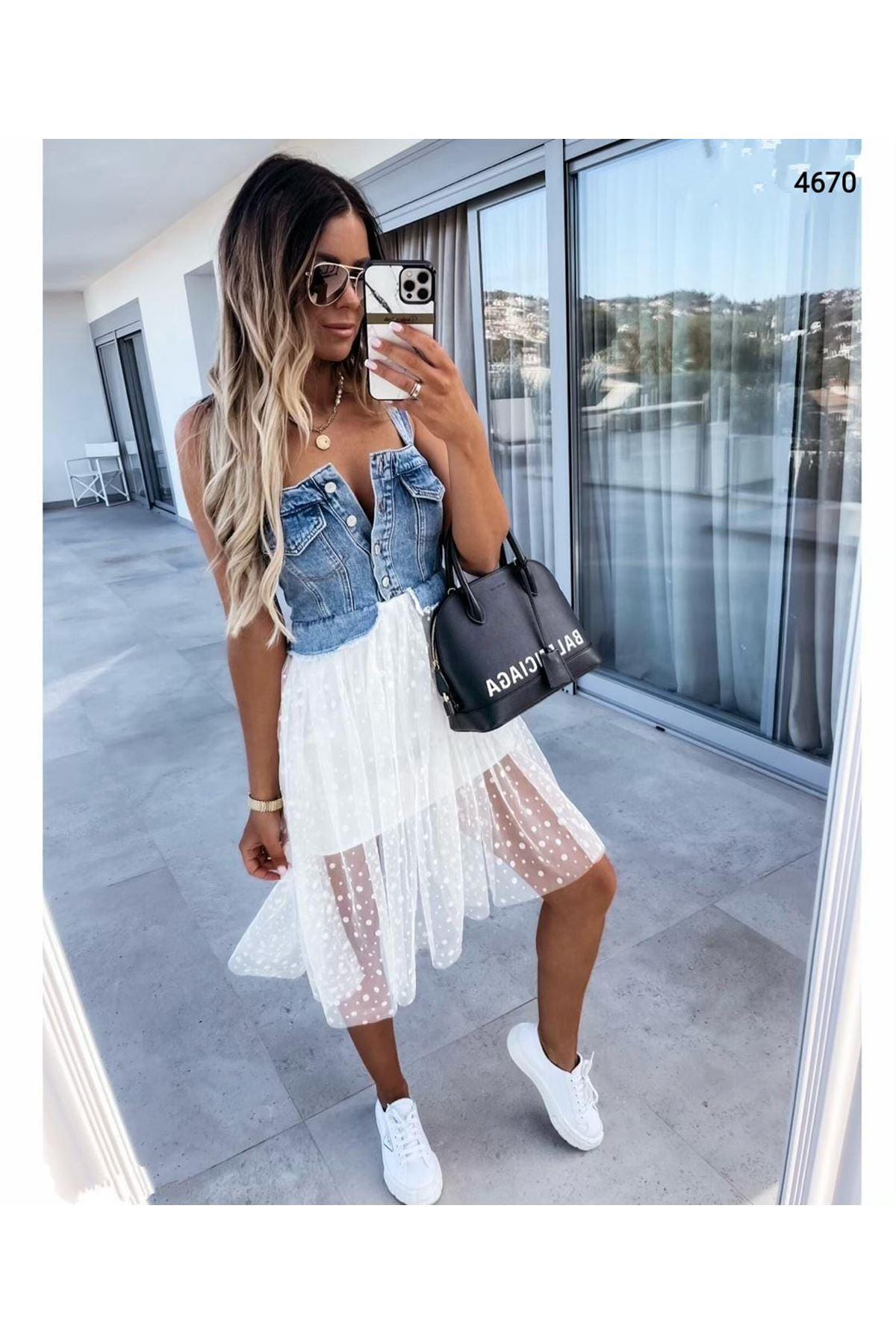 Floglu Tül Detaylı Kot Elbise - MAVİ