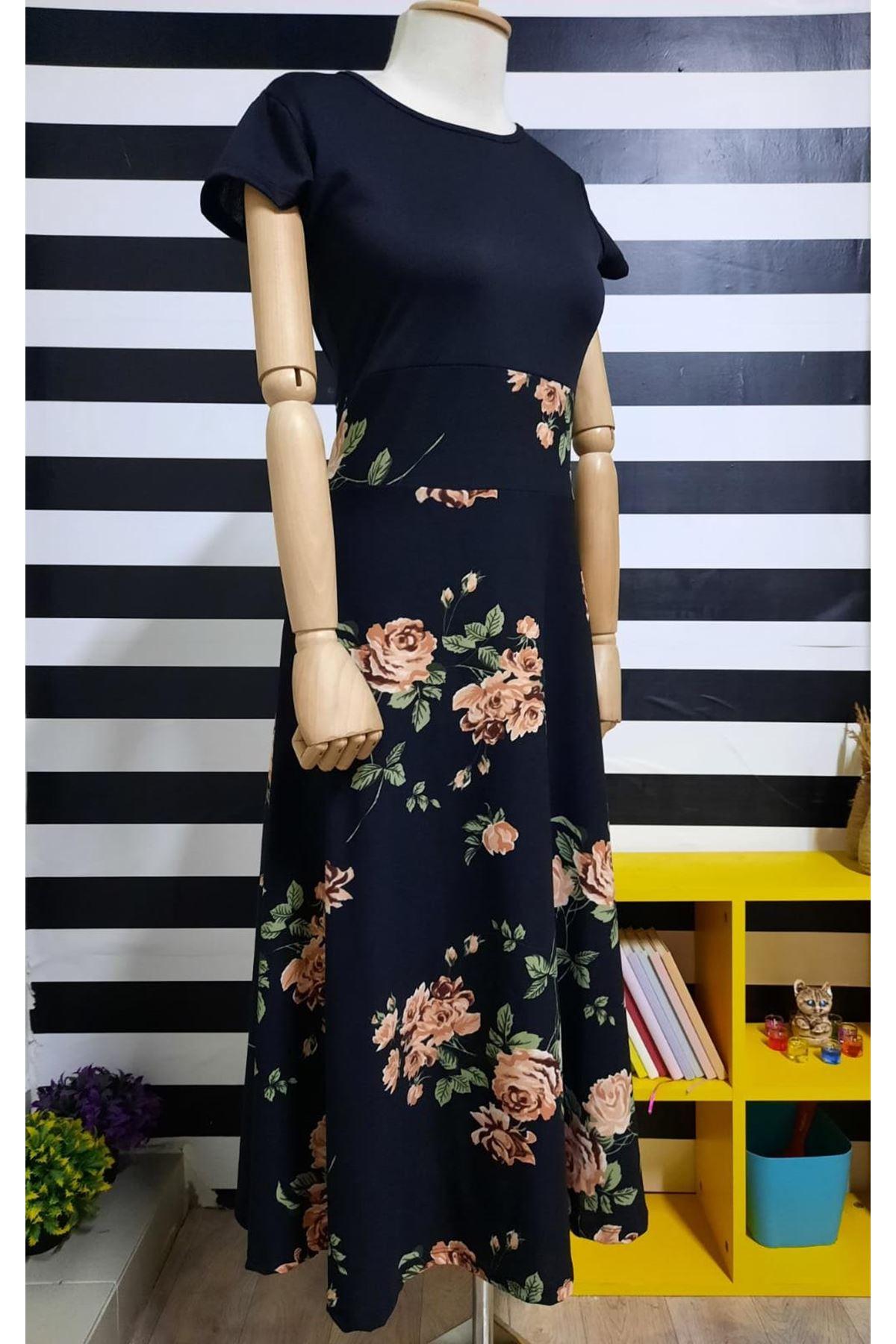 Altı Çiçek Desen Elbise - SİYAH