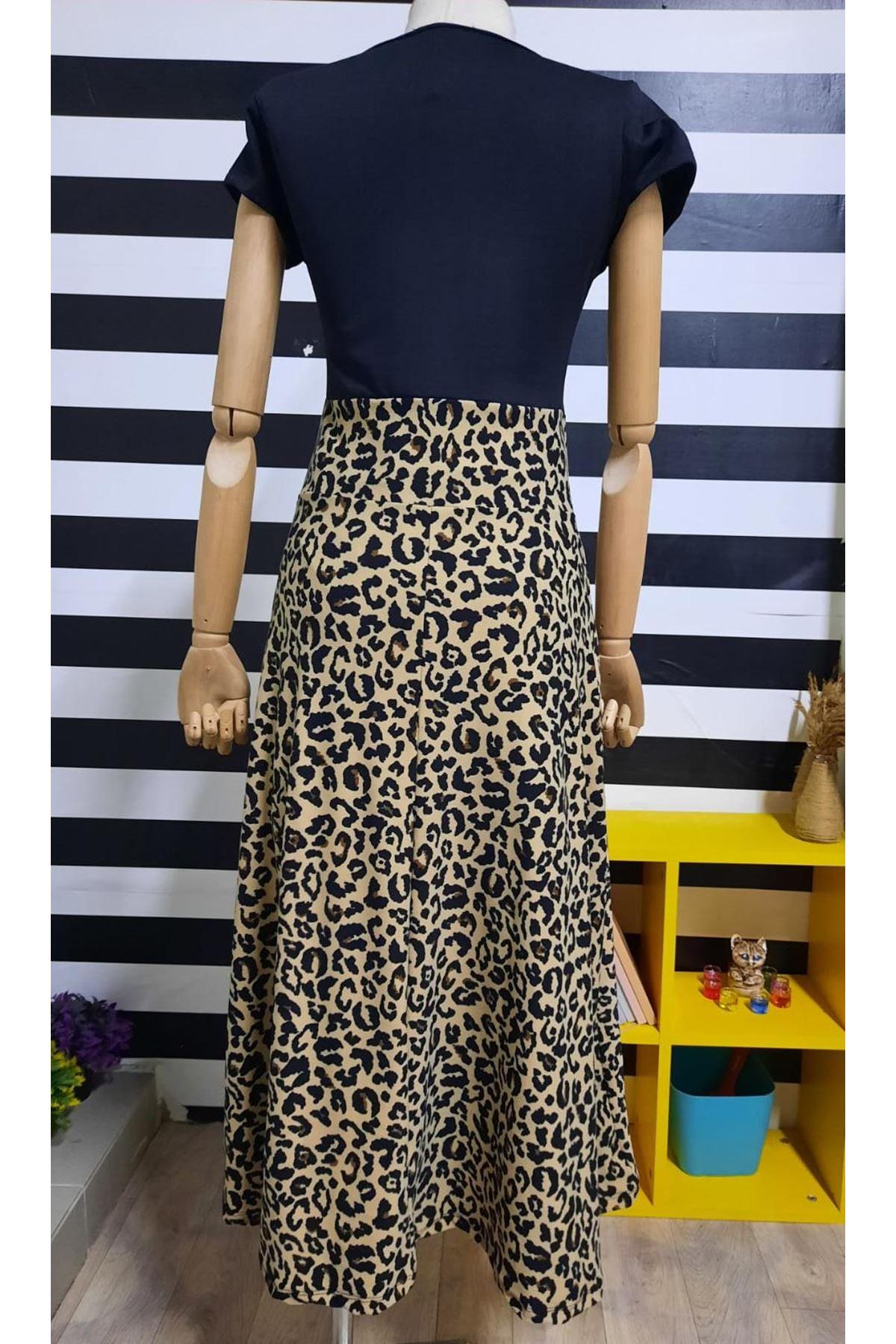 Altı Leoparlı Elbise - Siyah