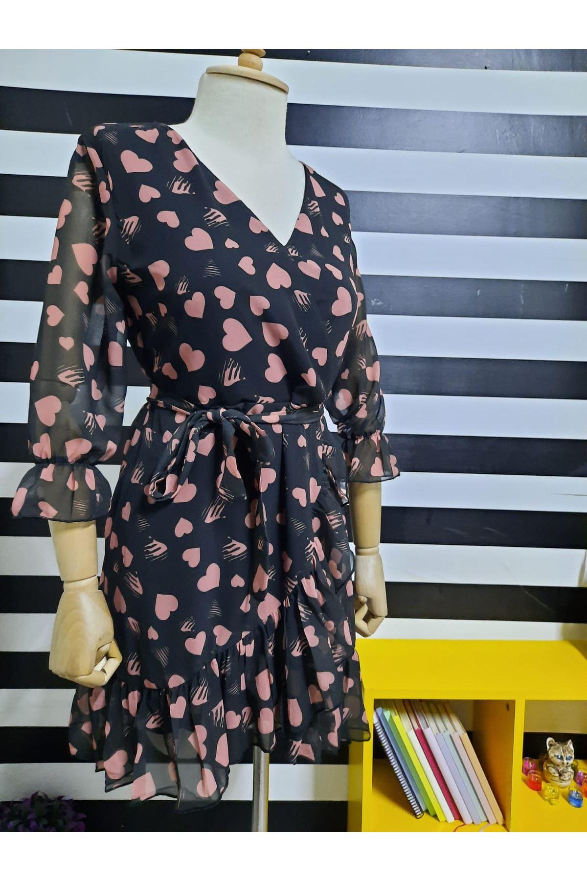 Kalp Desen Şifon Elbise - BEJ