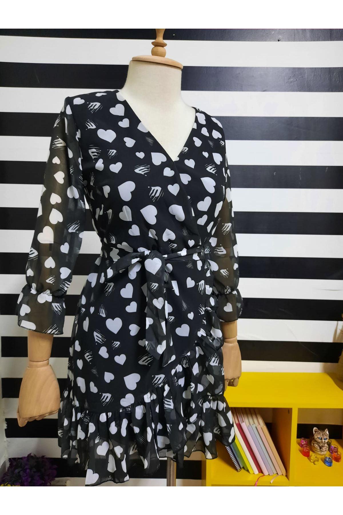 Kalp Desen Şifon Elbise - BEYAZ