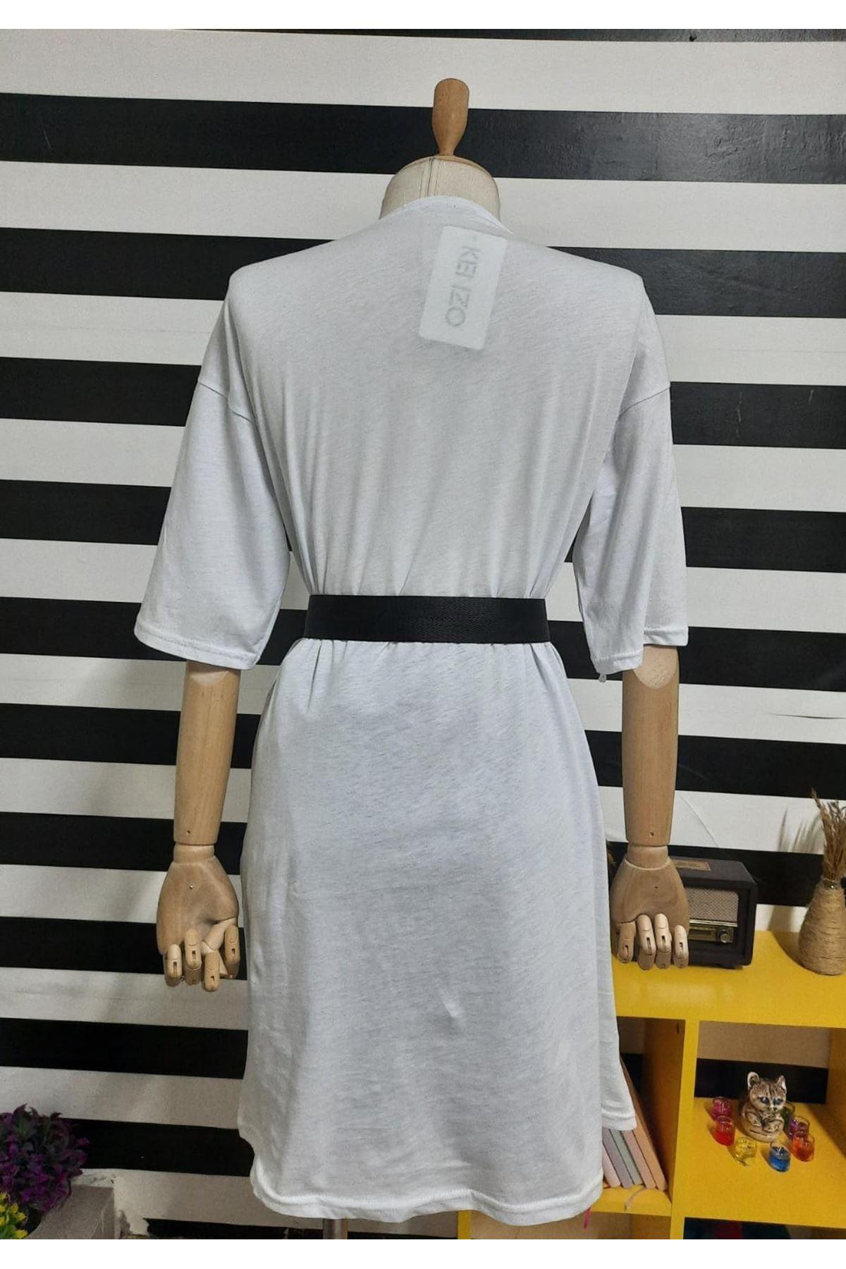 KZ Model Nakışlı Elbise - BEYAZ