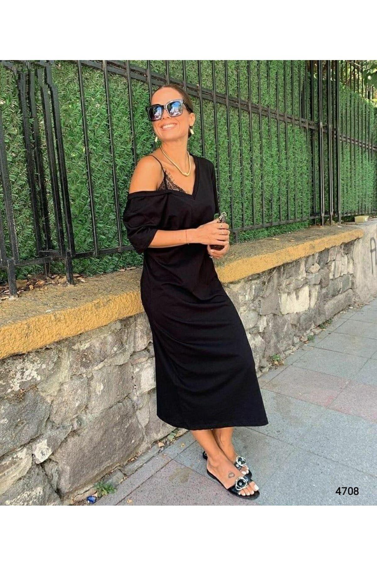 Tek Omuz Dantel Askılı Elbise - SİYAH