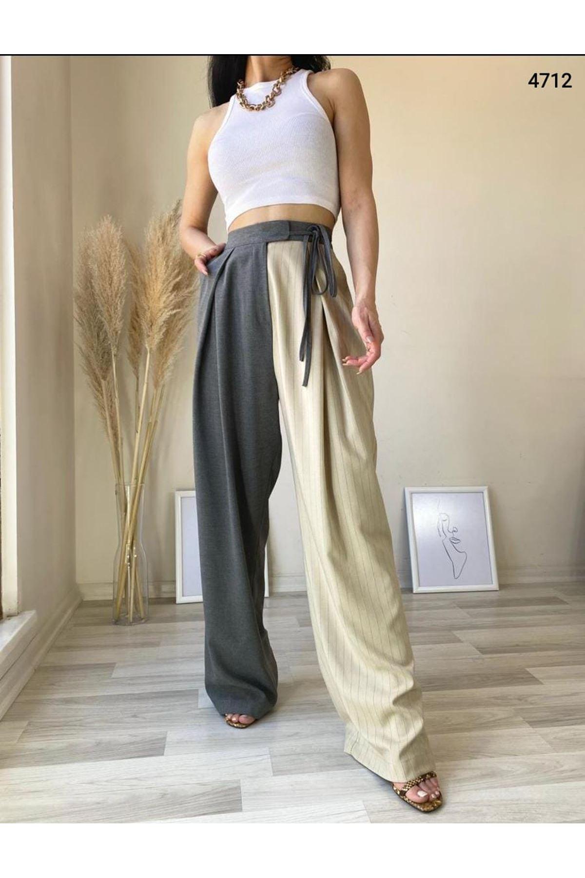 Bağcık Detaylı Çift Renk Pantolon - MULTİ