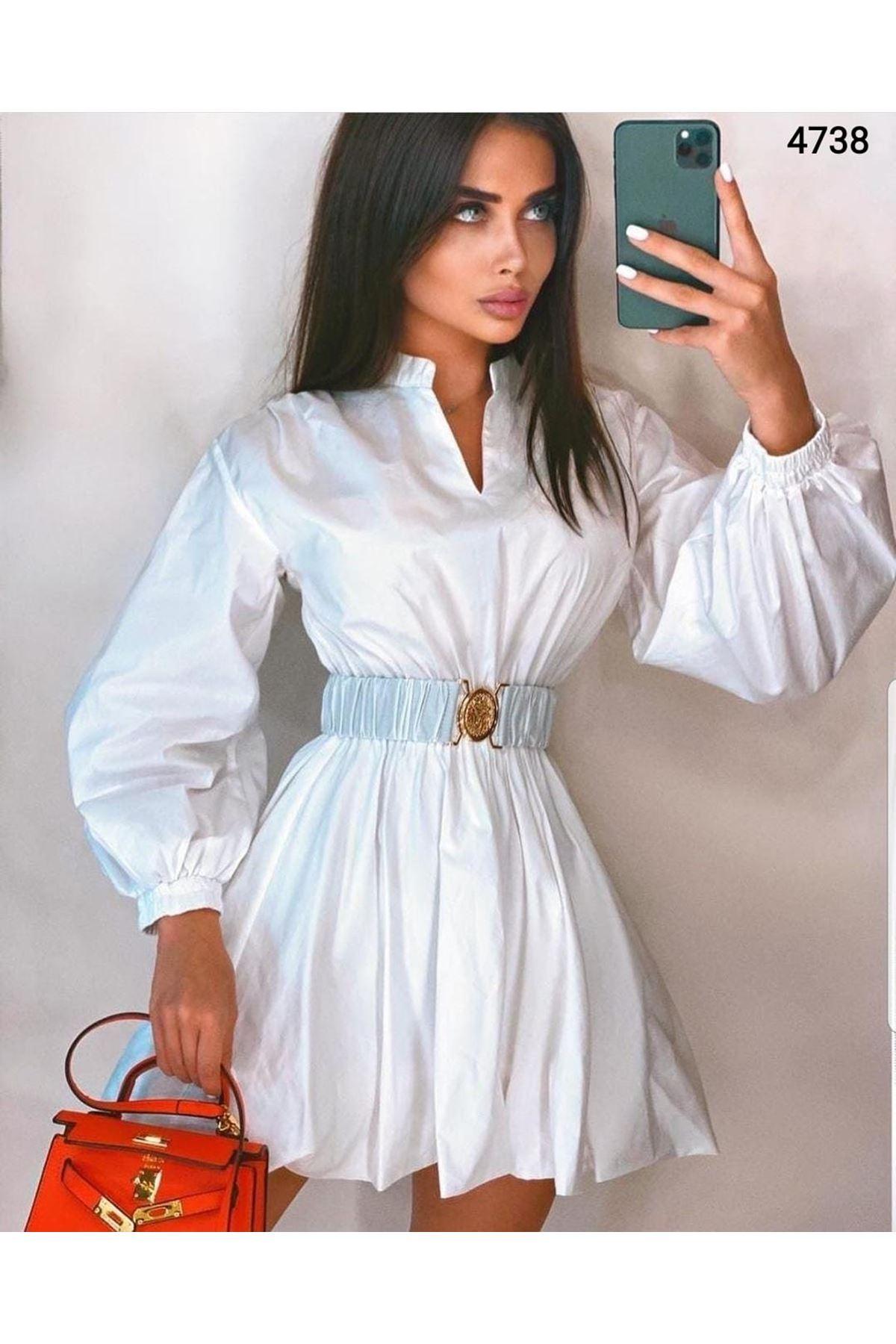Kemer Detaylı Poplin Elbise - BEYAZ