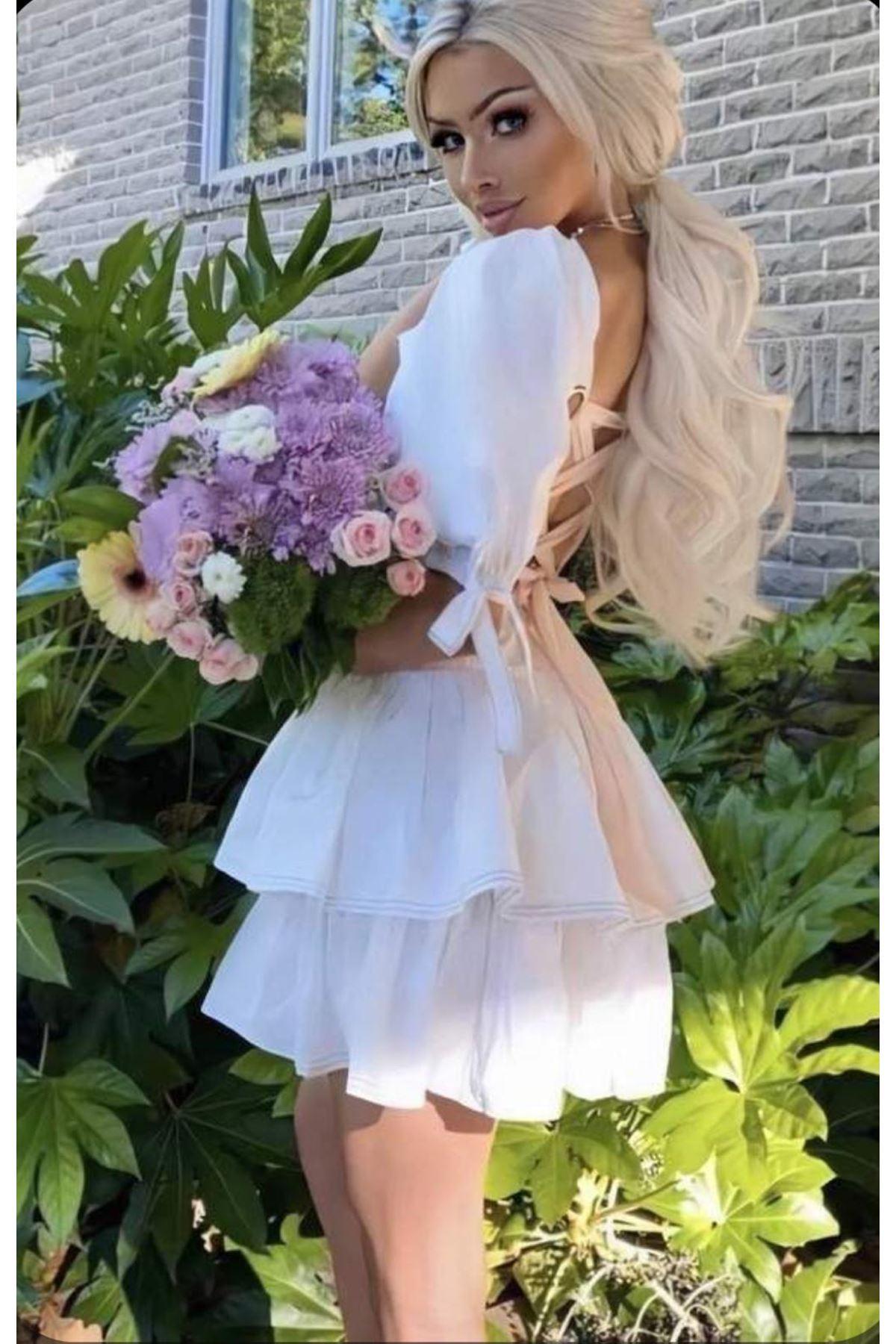 Sırt Detaylı Dakron Elbise - BEYAZ