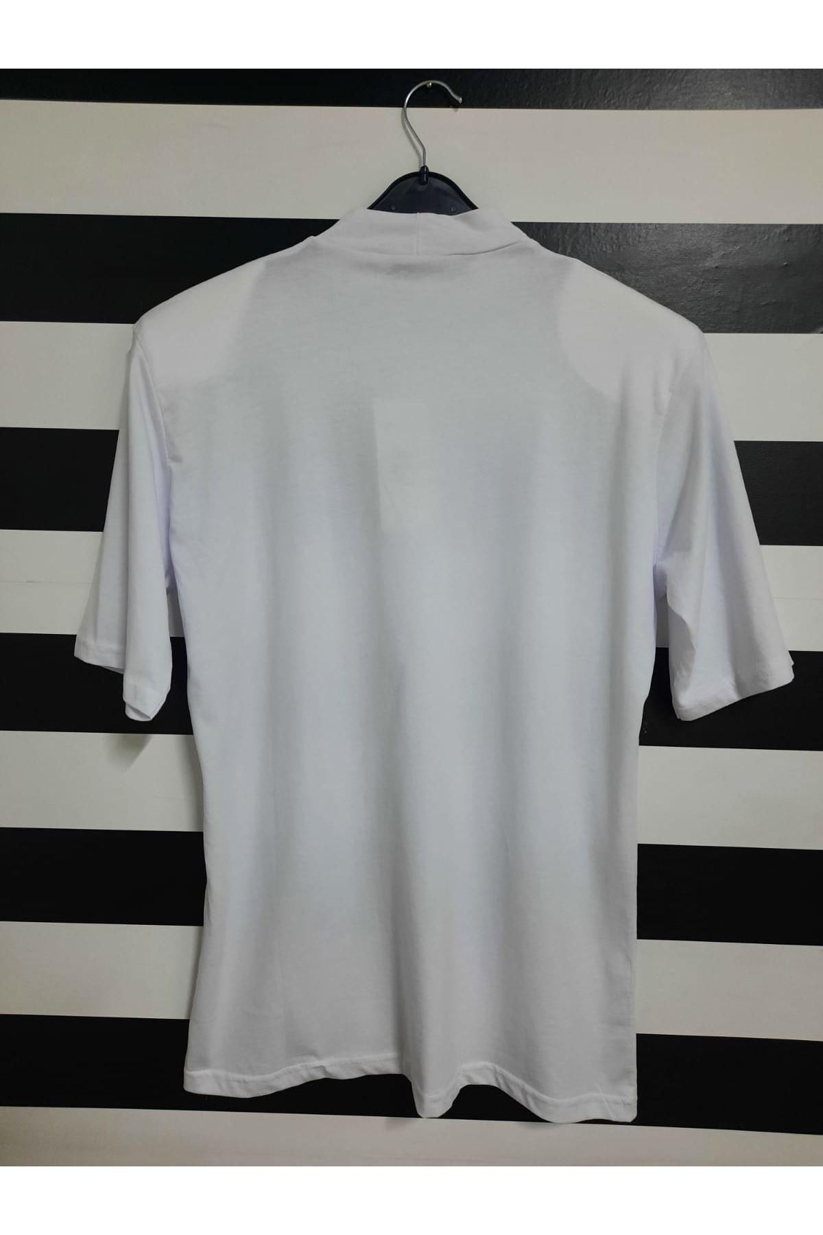 Yazı Baskılı Vatkalı Oversize T-shirt - BEYAZ