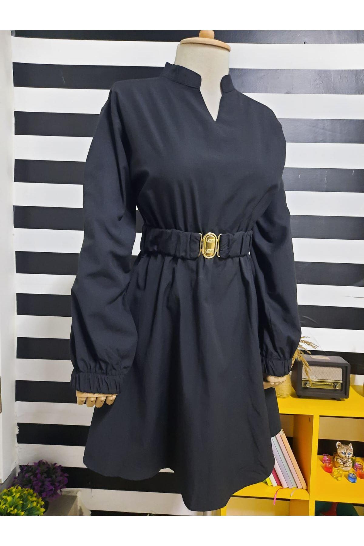 Kemer Detaylı Poplin Elbise - SİYAH