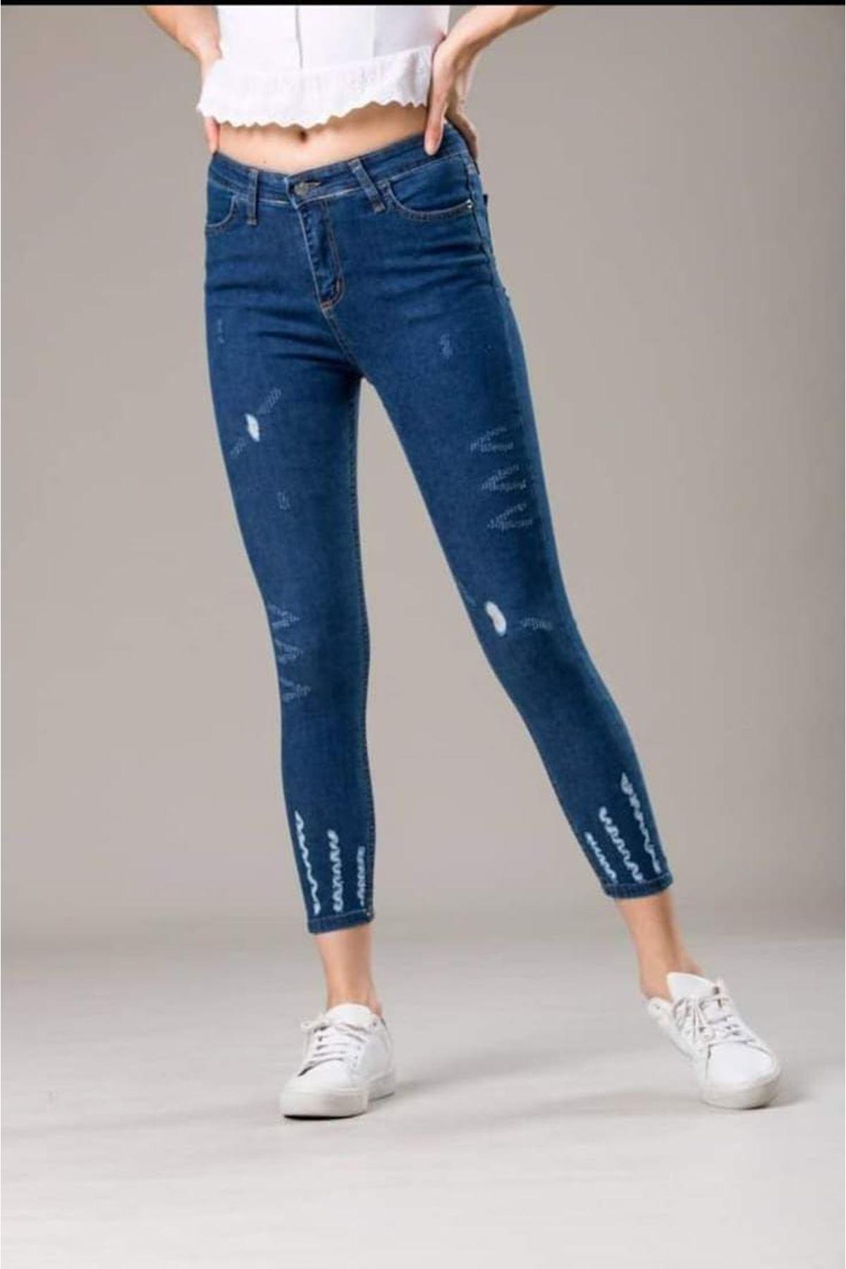 Yırtık Detaylı Kot Pantolon - MAVİ