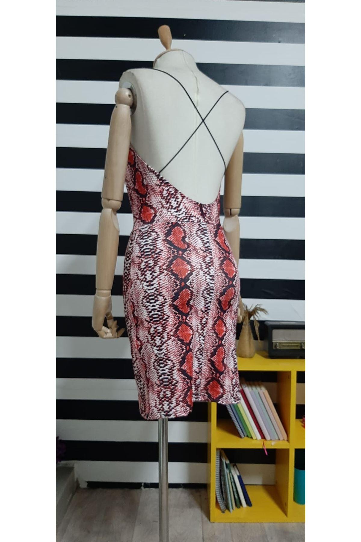 Askılı Yılan Desen Elbise - KIRMIZI