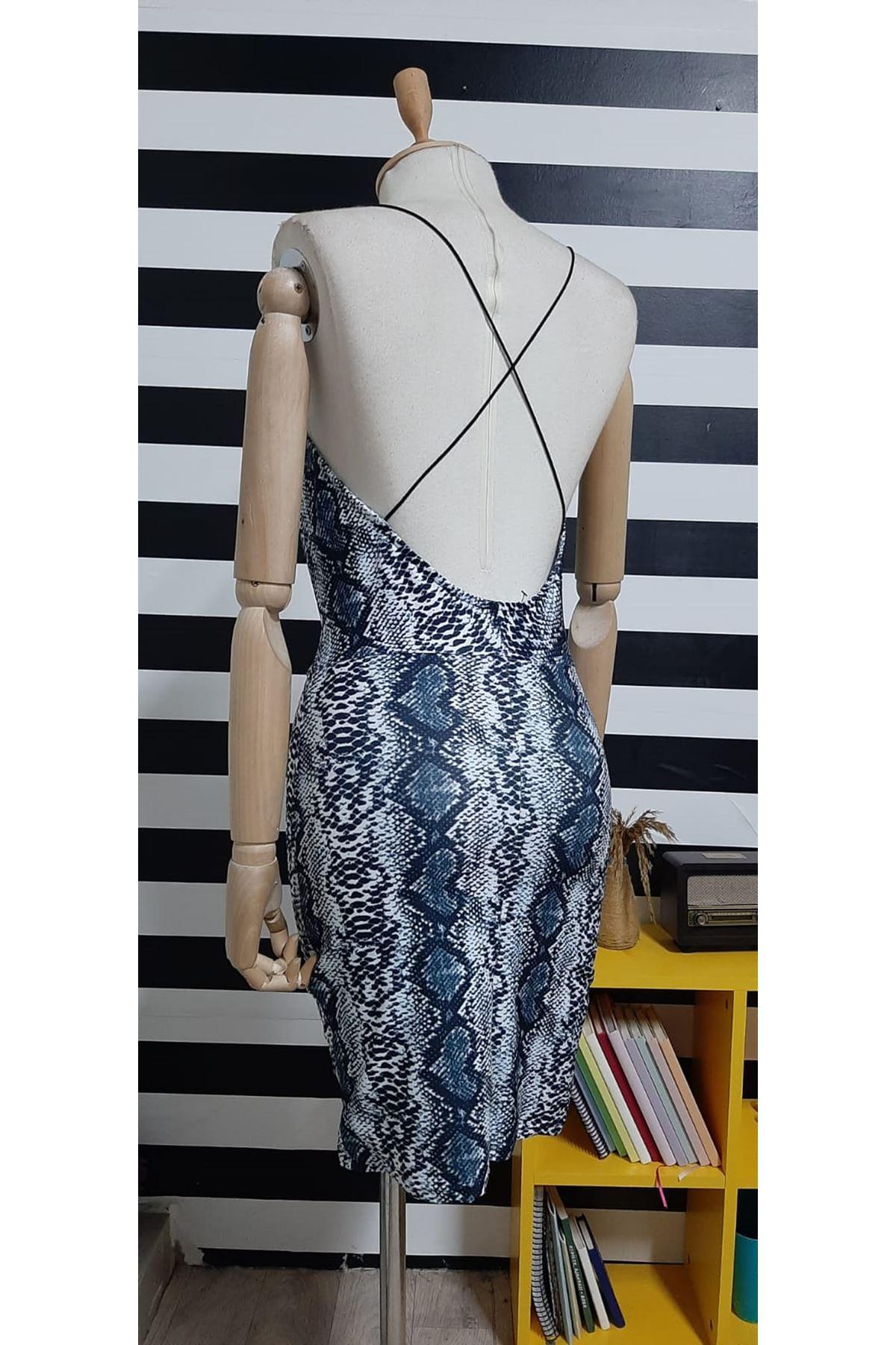 Askılı Yılan Desen Elbise - GRİ