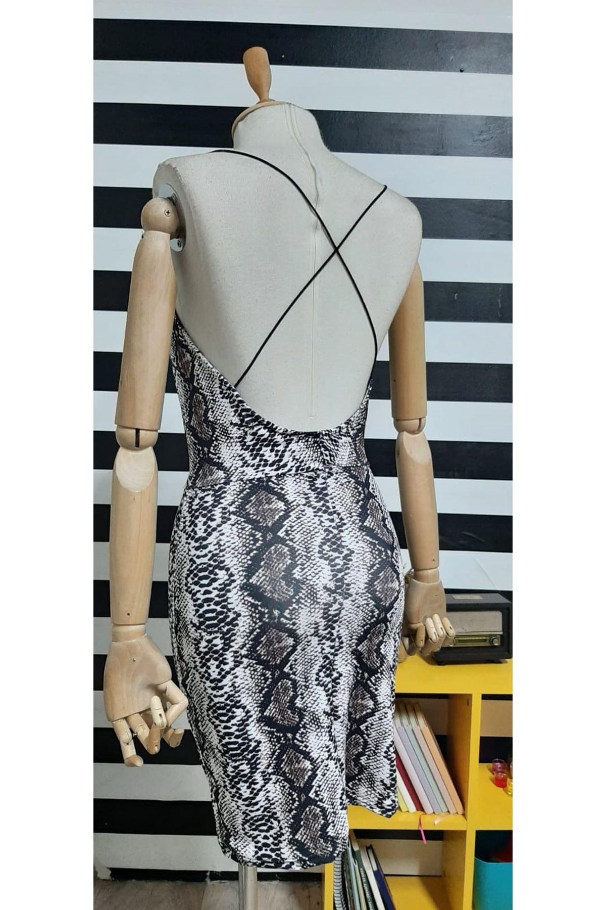 Askılı Yılan Desen Elbise - BEJ
