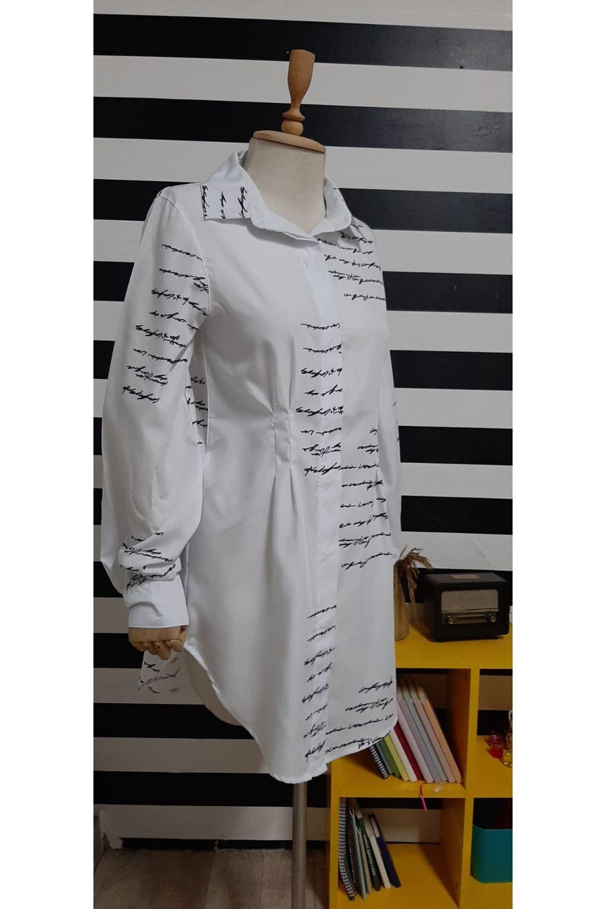 Baskılı Poplin Gömlek Elbise - BEYAZ