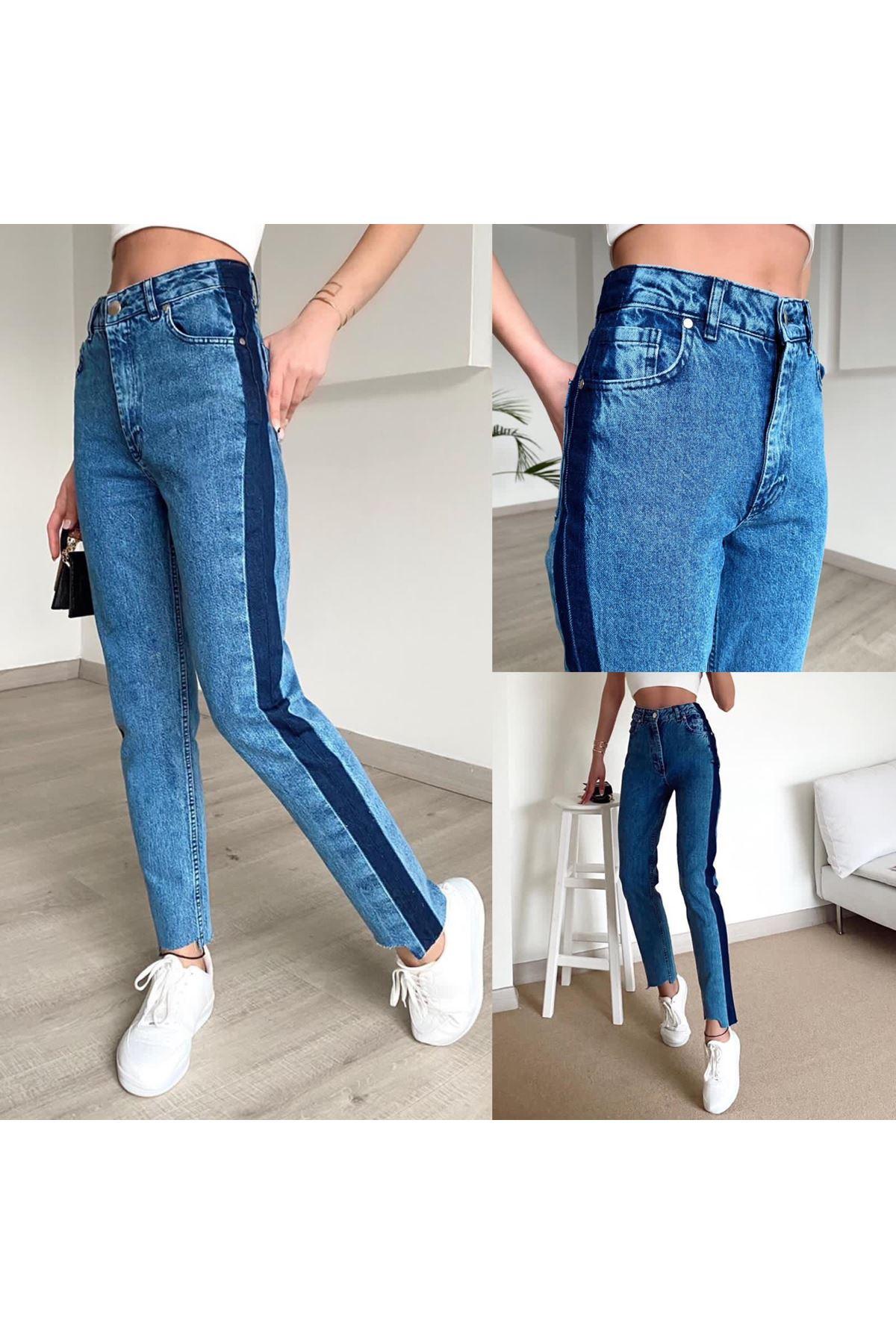 Şerit Detaylı Kot Pantolon - MAVİ