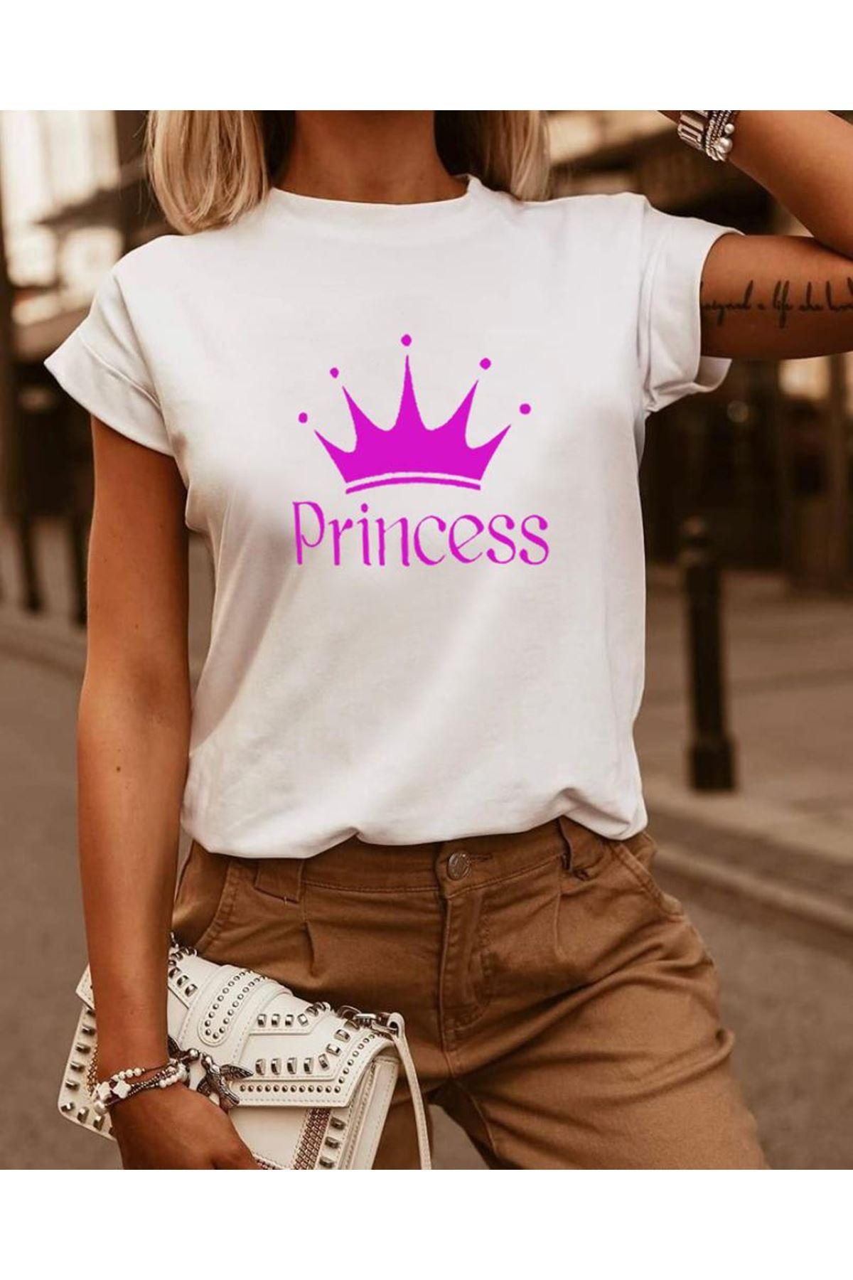 Princess Baskılı Tshirt - BEYAZ