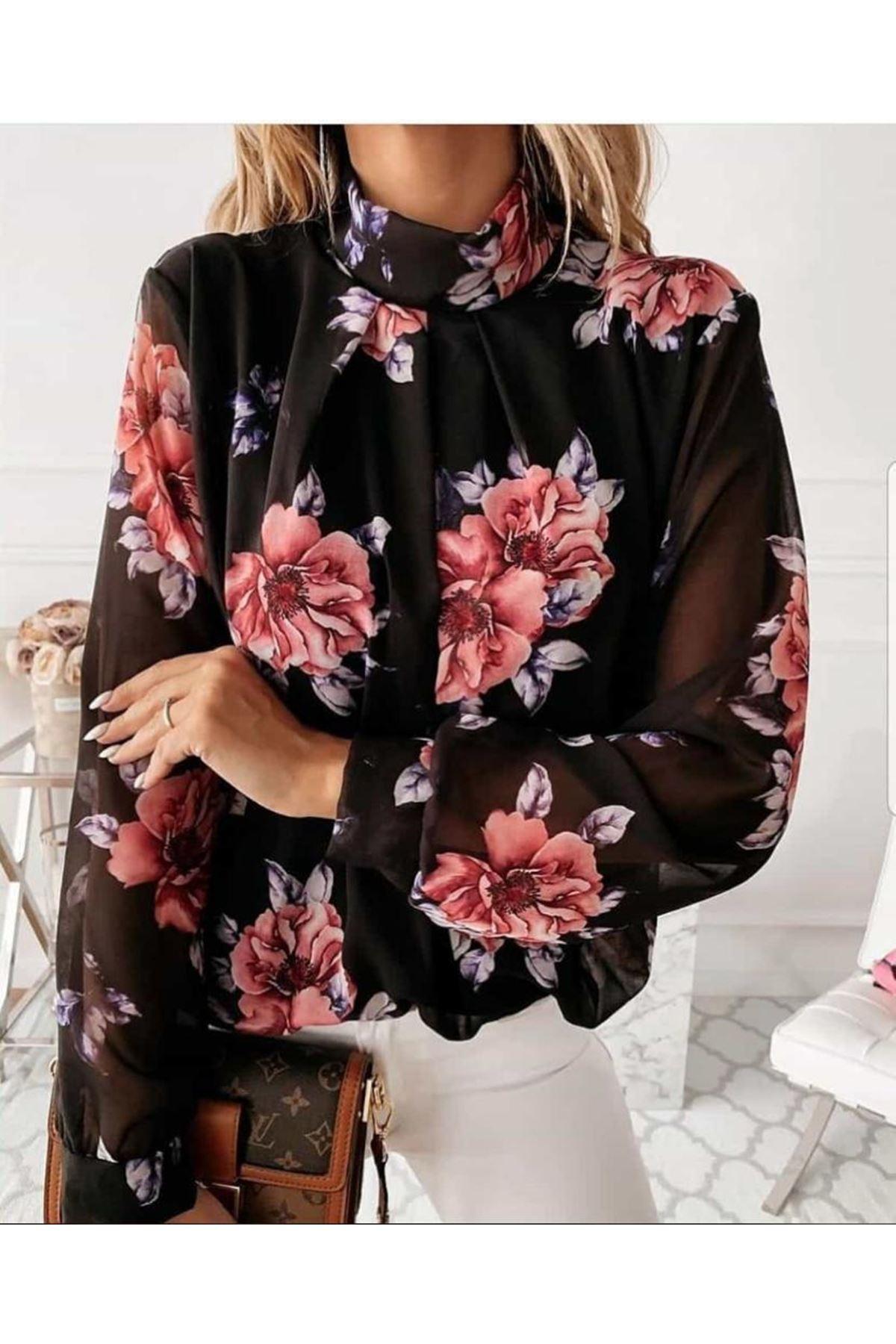Çiçek Desen Astarlı Şifon Bluz - SİYAH
