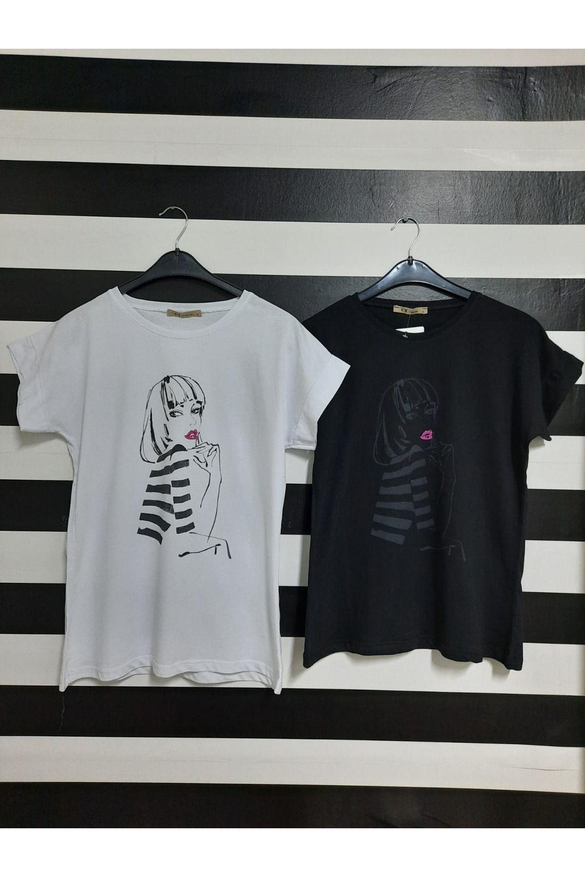 Çizgili Kız Baskılı Tshirt - BEYAZ