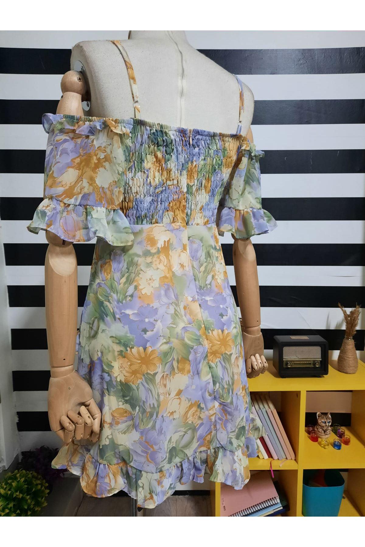 Askılı Dekolteli mini Elbise - MULTİ
