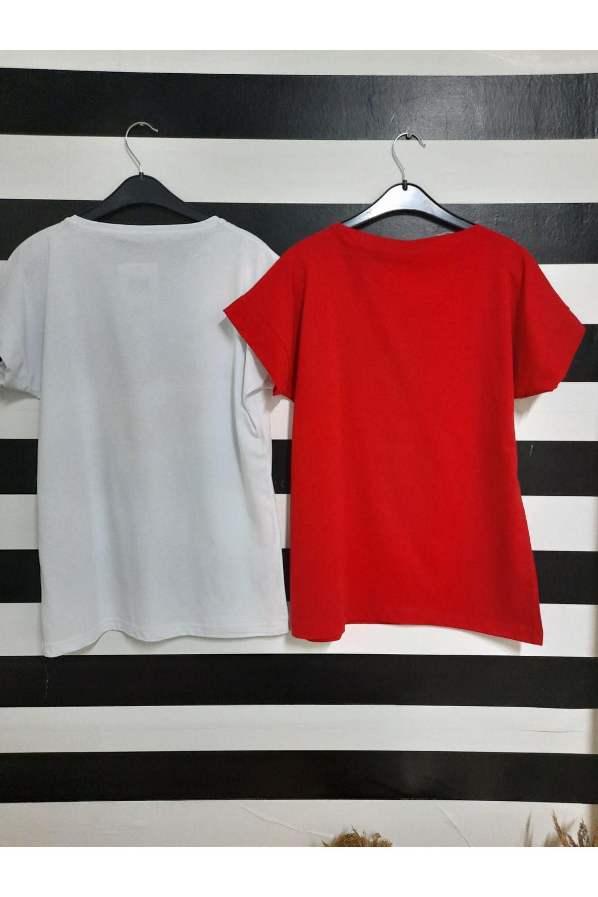 Dudak Ve Yazı Baskılı Tshirt - BEYAZ