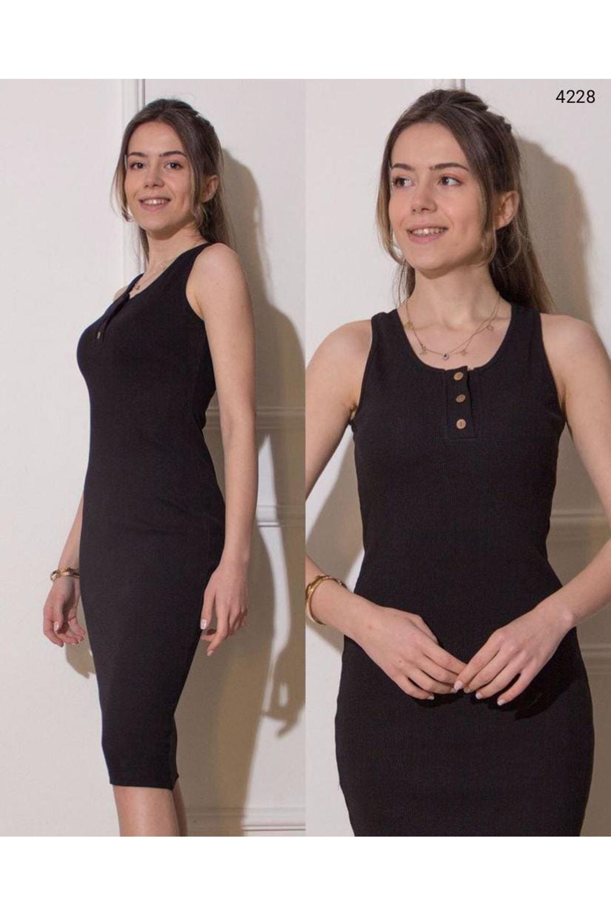 Düğme Detaylı Kaşkorse Elbise - Siyah