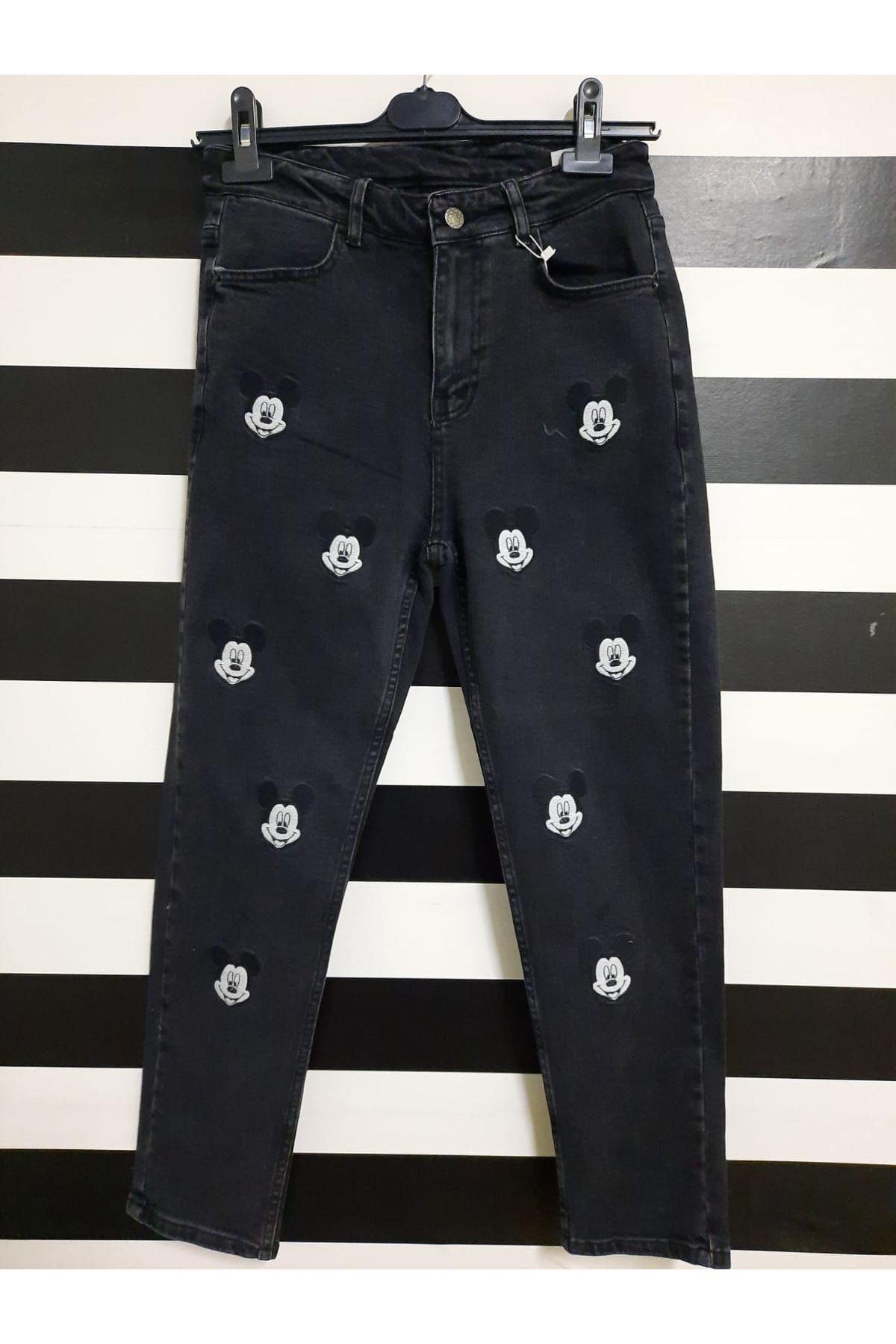 MCK Baskılı Kot Pantolon - SİYAH