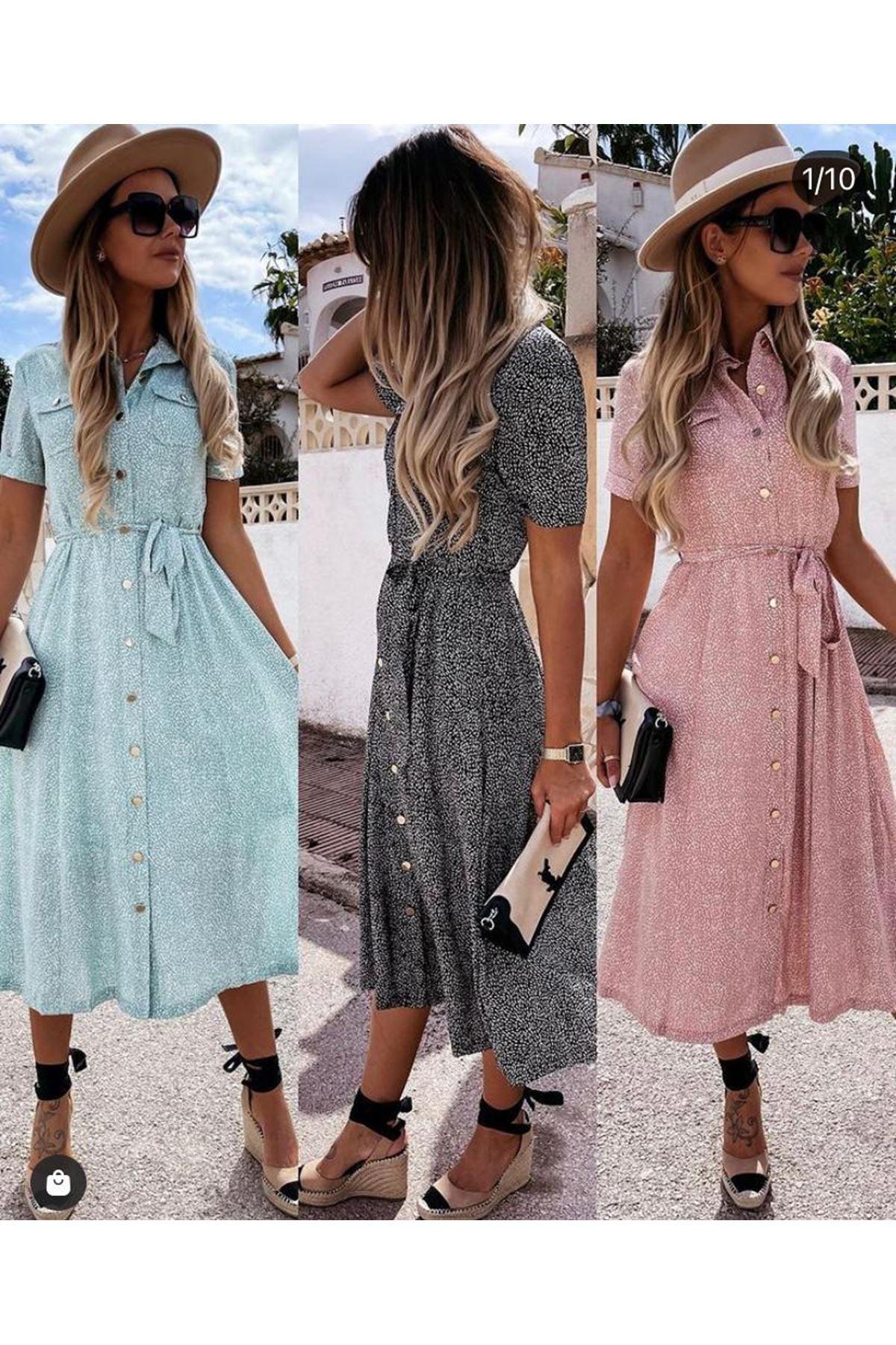 Cep Detaylı Crep Gömlek Elbise - MİNT