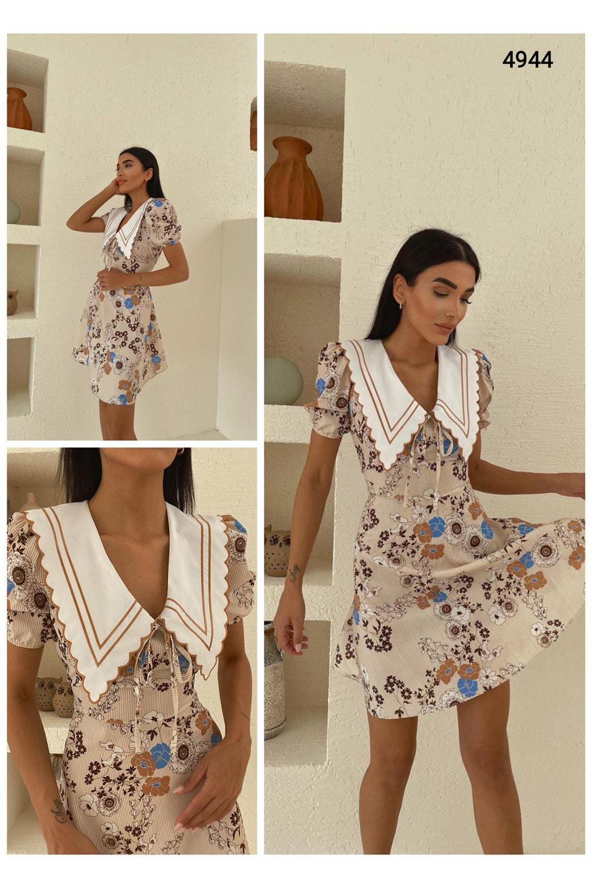 Yaka Nakış Detaylı Elbise - EKRU