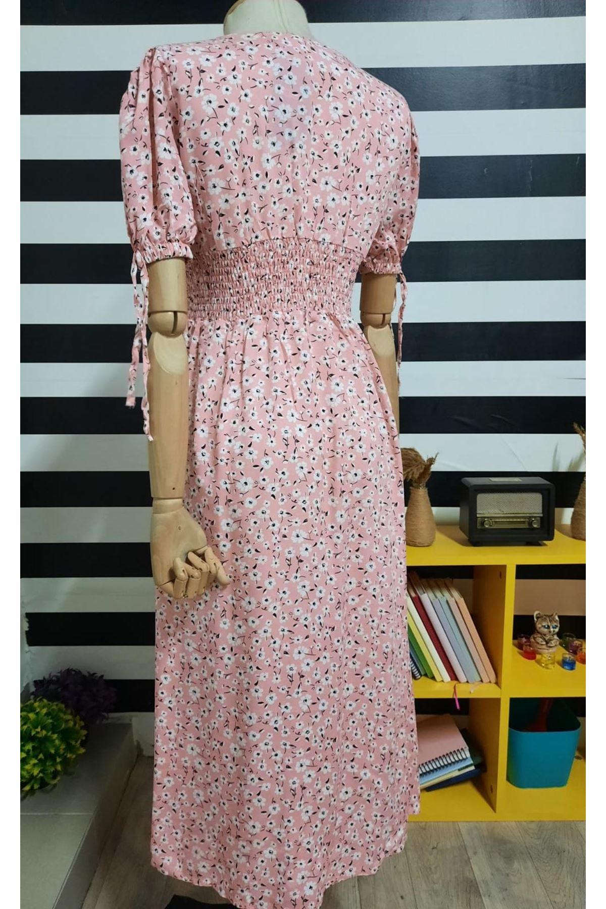 Bel Gipeli Çiçek Desen Elbise - PUDRA