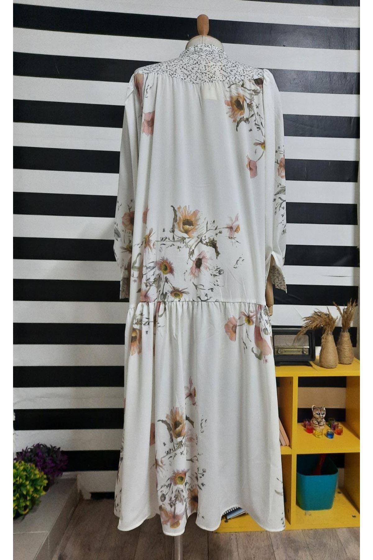 Çiçek Desen Gömlek Elbise - BEYAZ