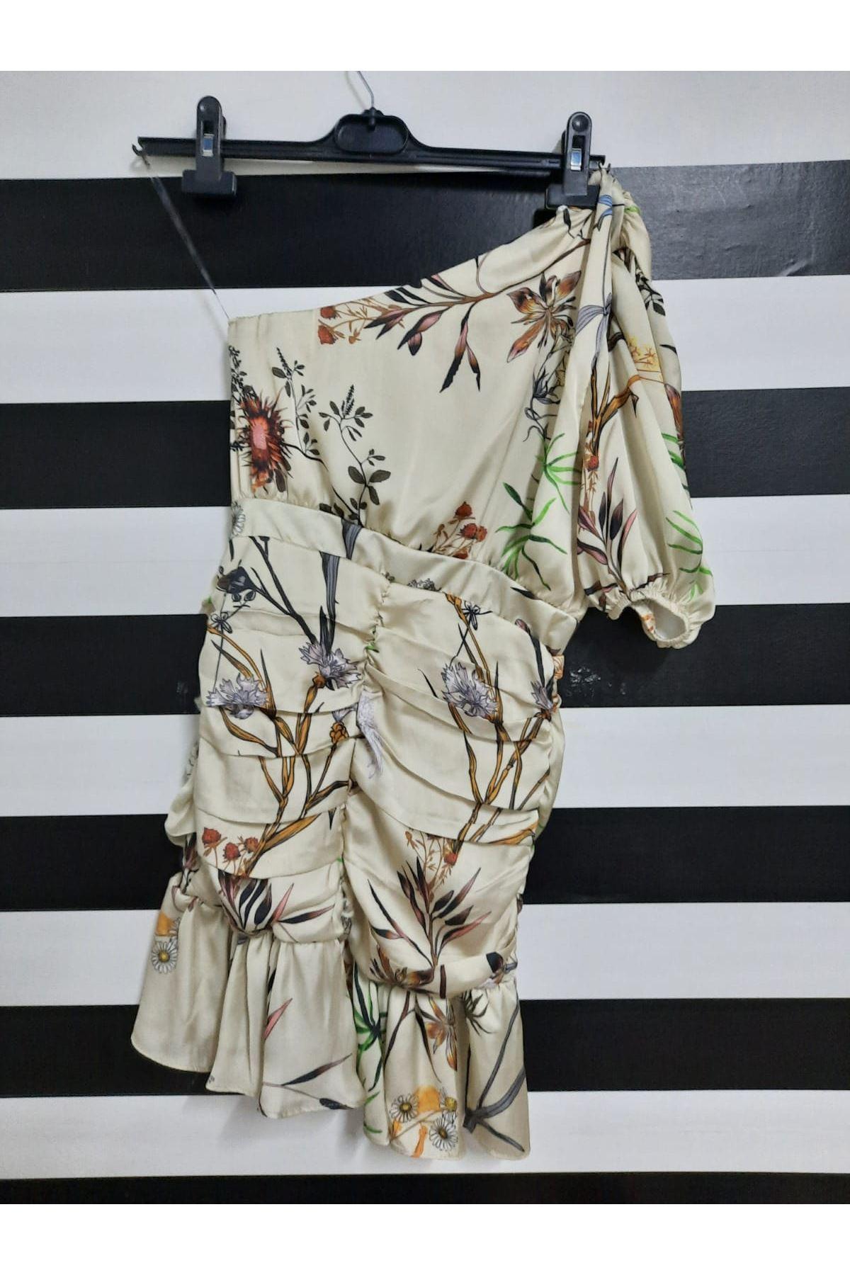 Tek Omuz Drapeli Elbise - EKRU