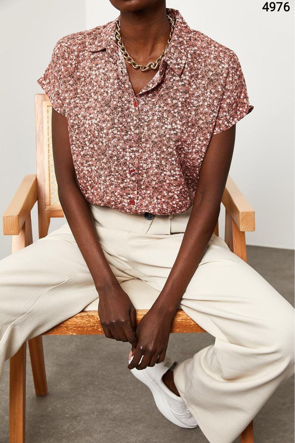 Çiçek Desen Kısa Kol Gömlek - MULTİ