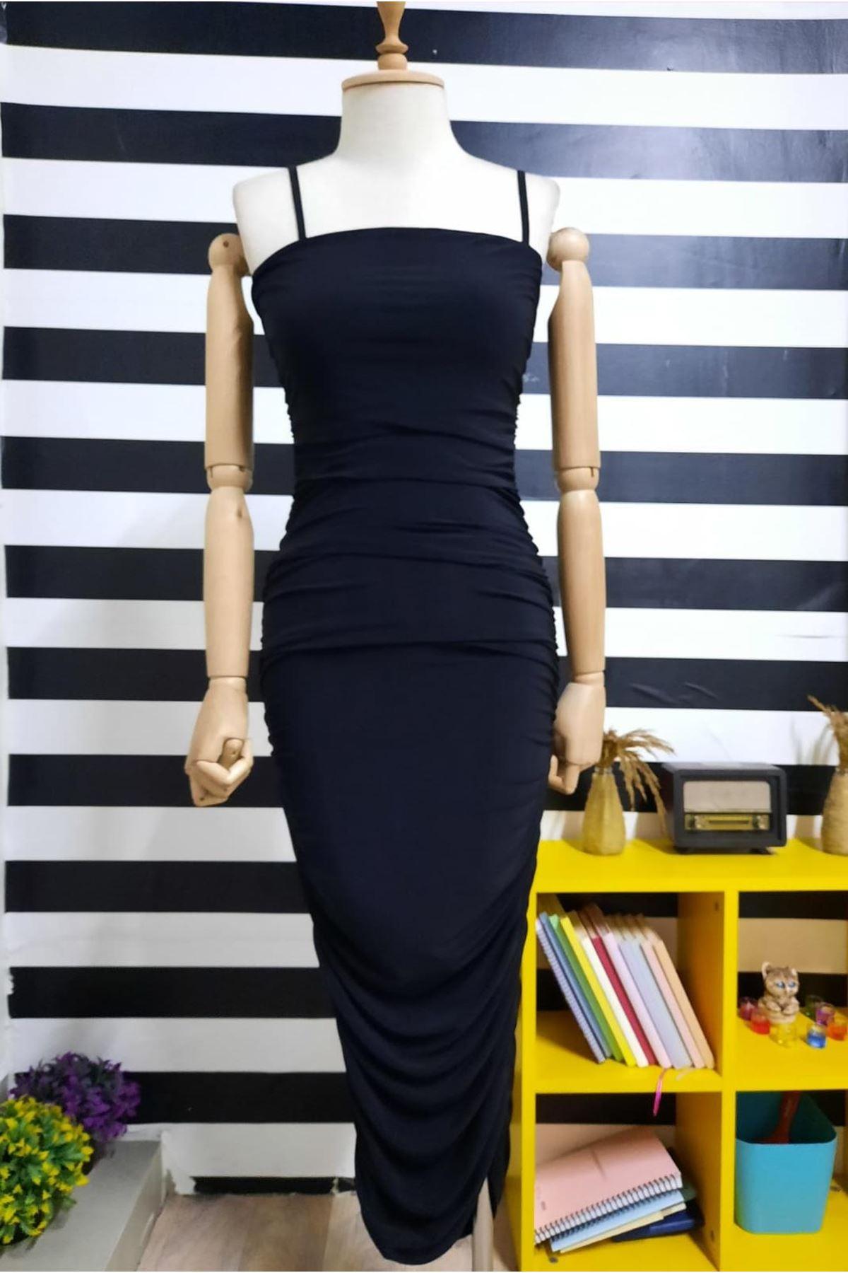 Askılı Drapeli Elbise  - SİYAH