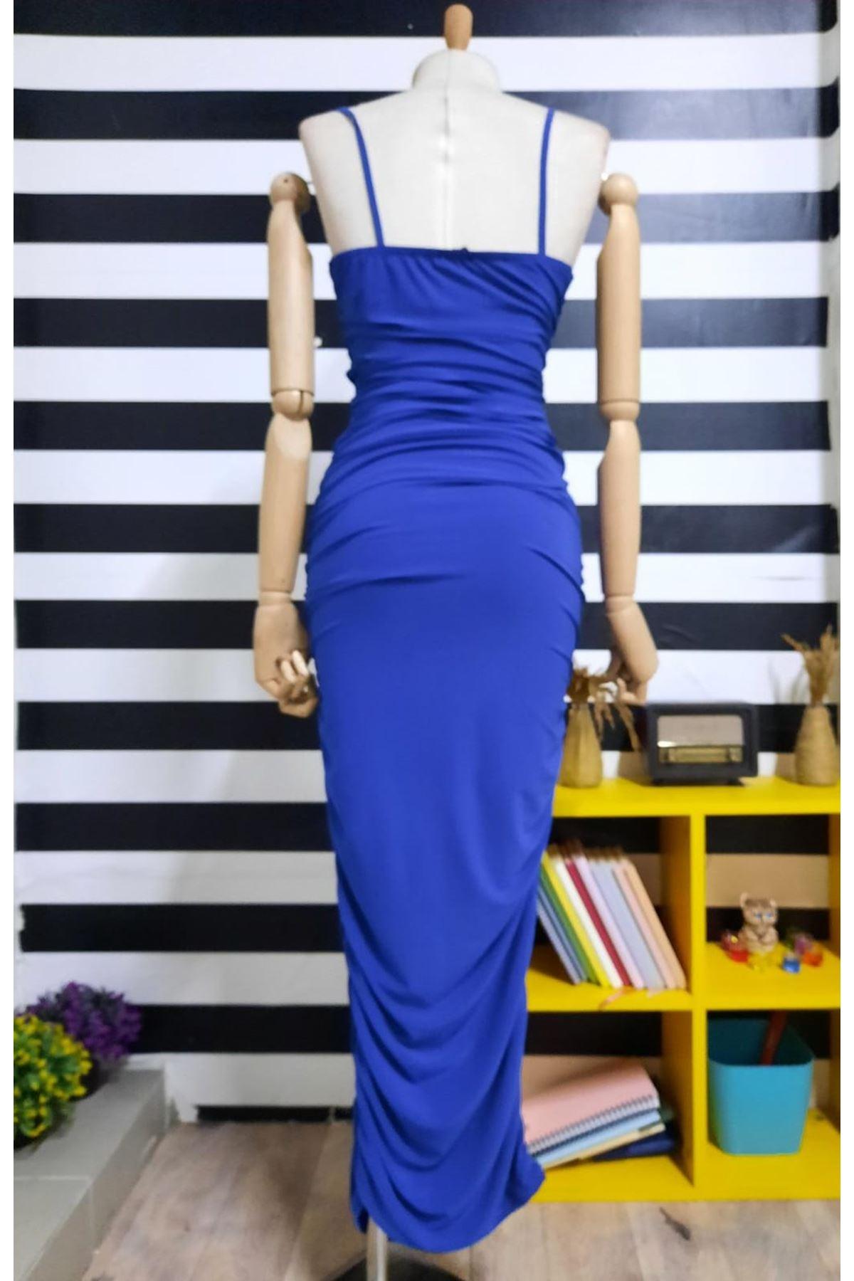Askılı Drapeli Elbise  - SAX