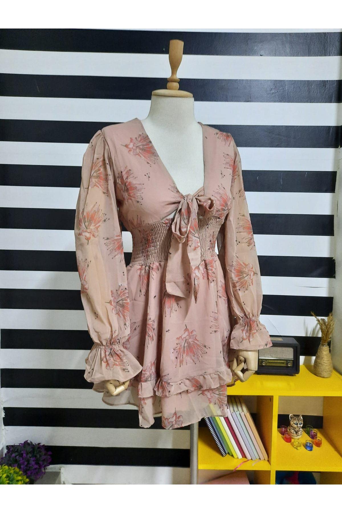 Gipeli Bağlamalı Elbise - PUDRA