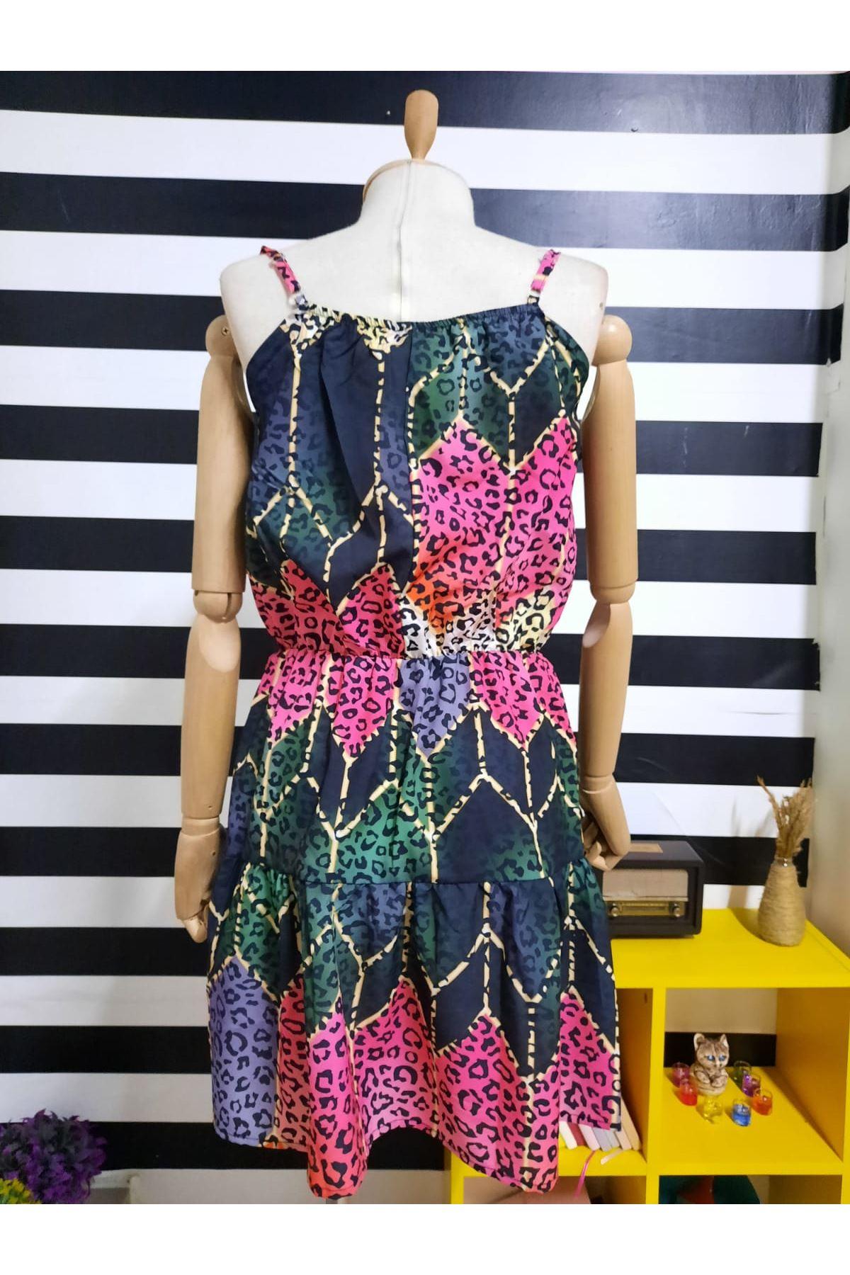 Leopar Desen Dijital Baskılı Elbise - MULTİ
