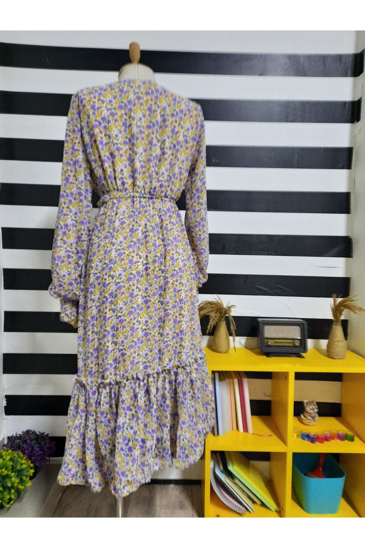 Düğme Detaylı Çiçek Desen Elbise - SARI