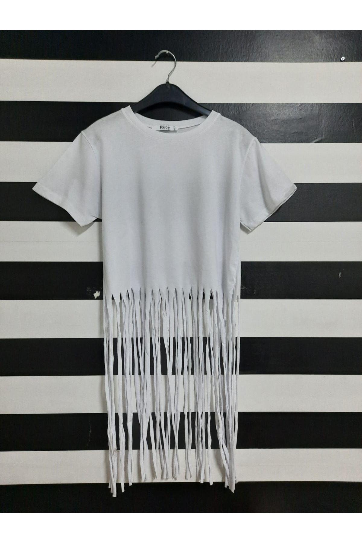 Püskül Detaylı Tshirt - BEYAZ