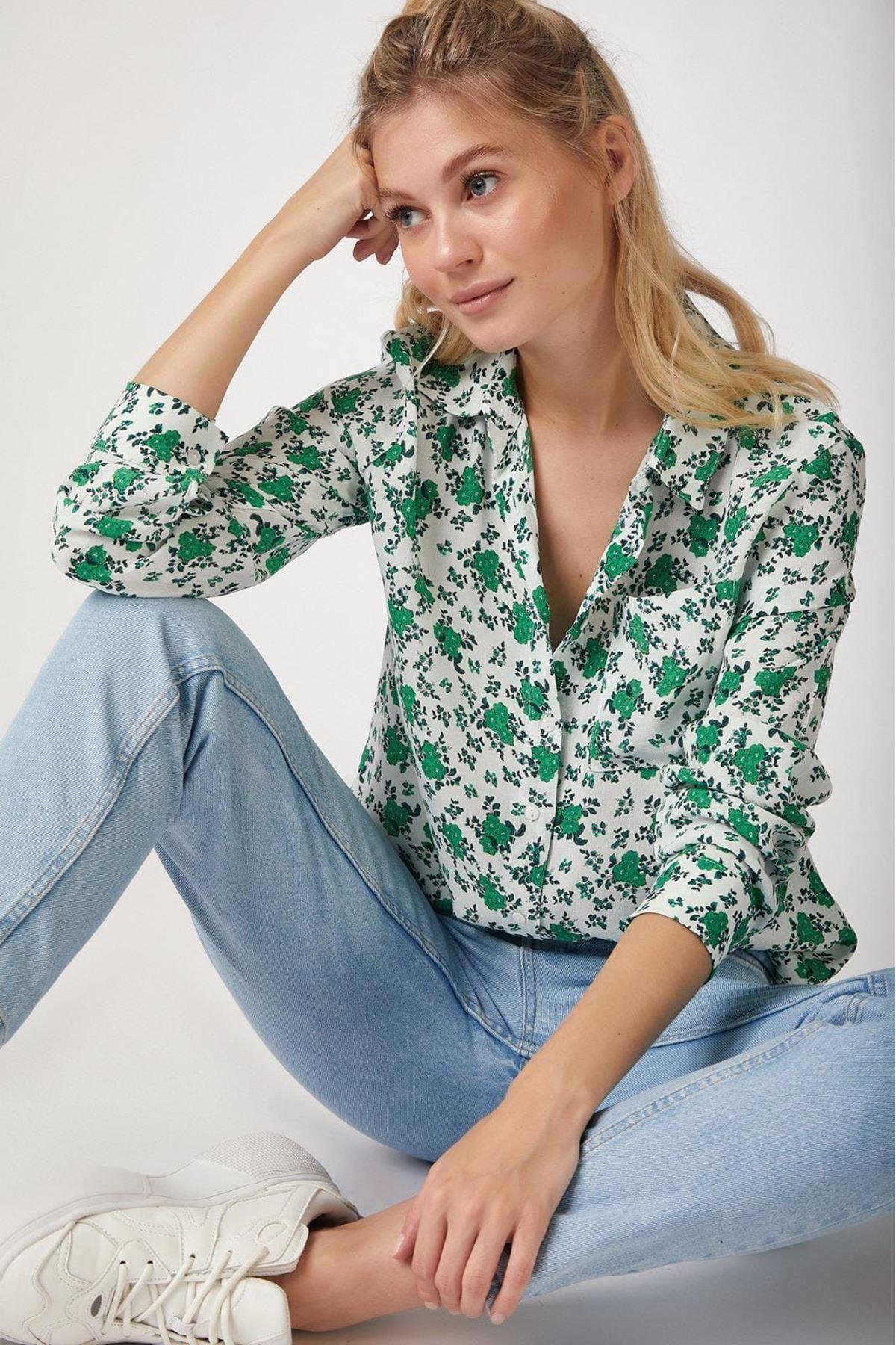 Çiçek Baskılı Gömlek - YEŞİL