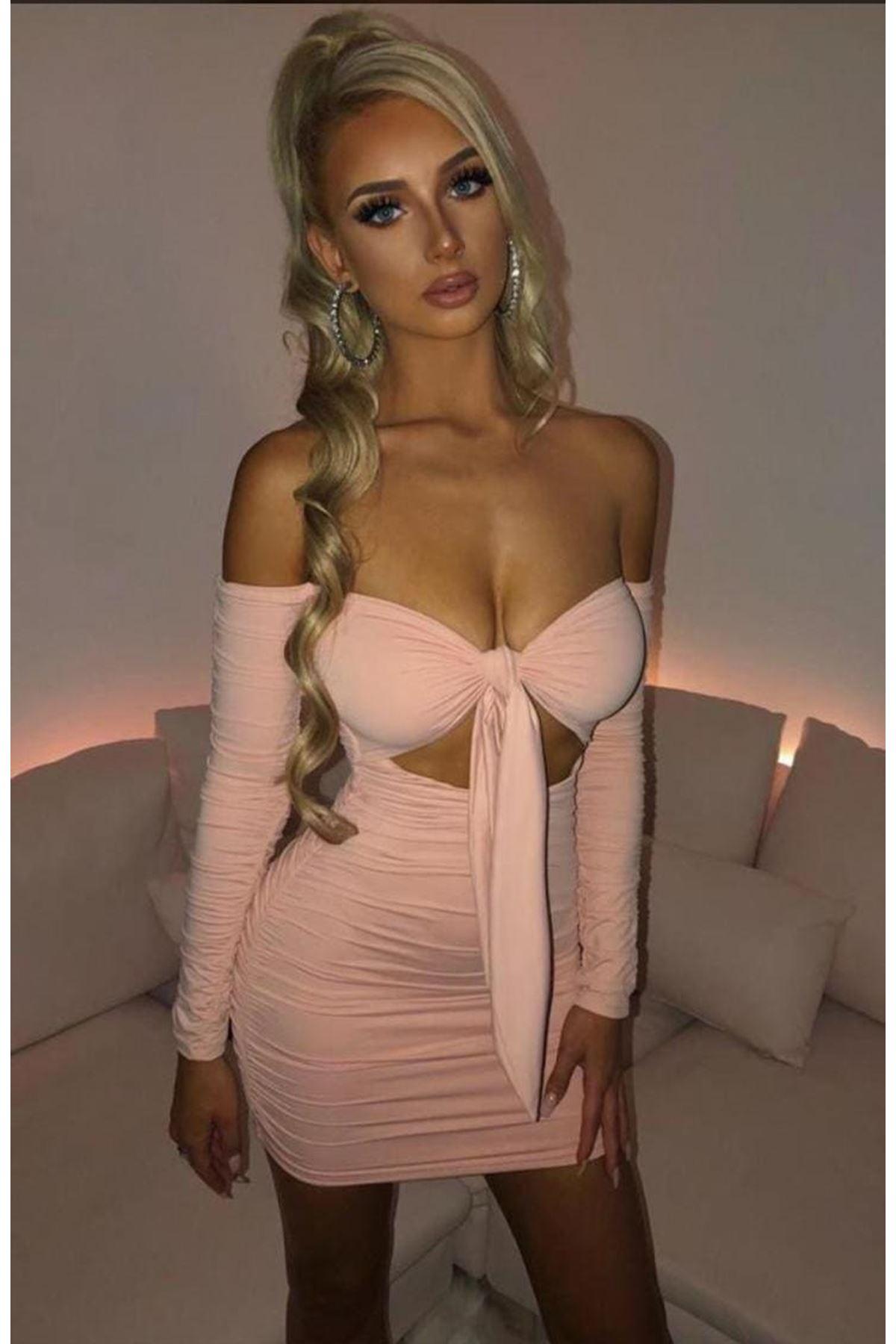 Dekolte Detaylı Drapeli Elbise - PUDRA