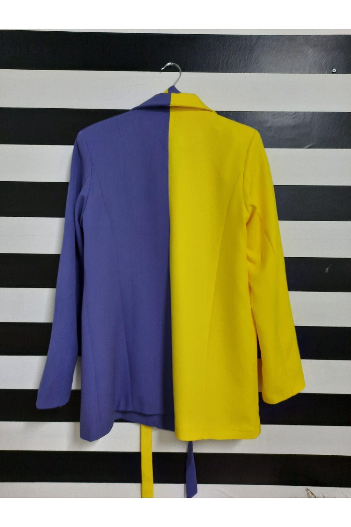 Çift Renk Kuşaklı Ceket - MOR