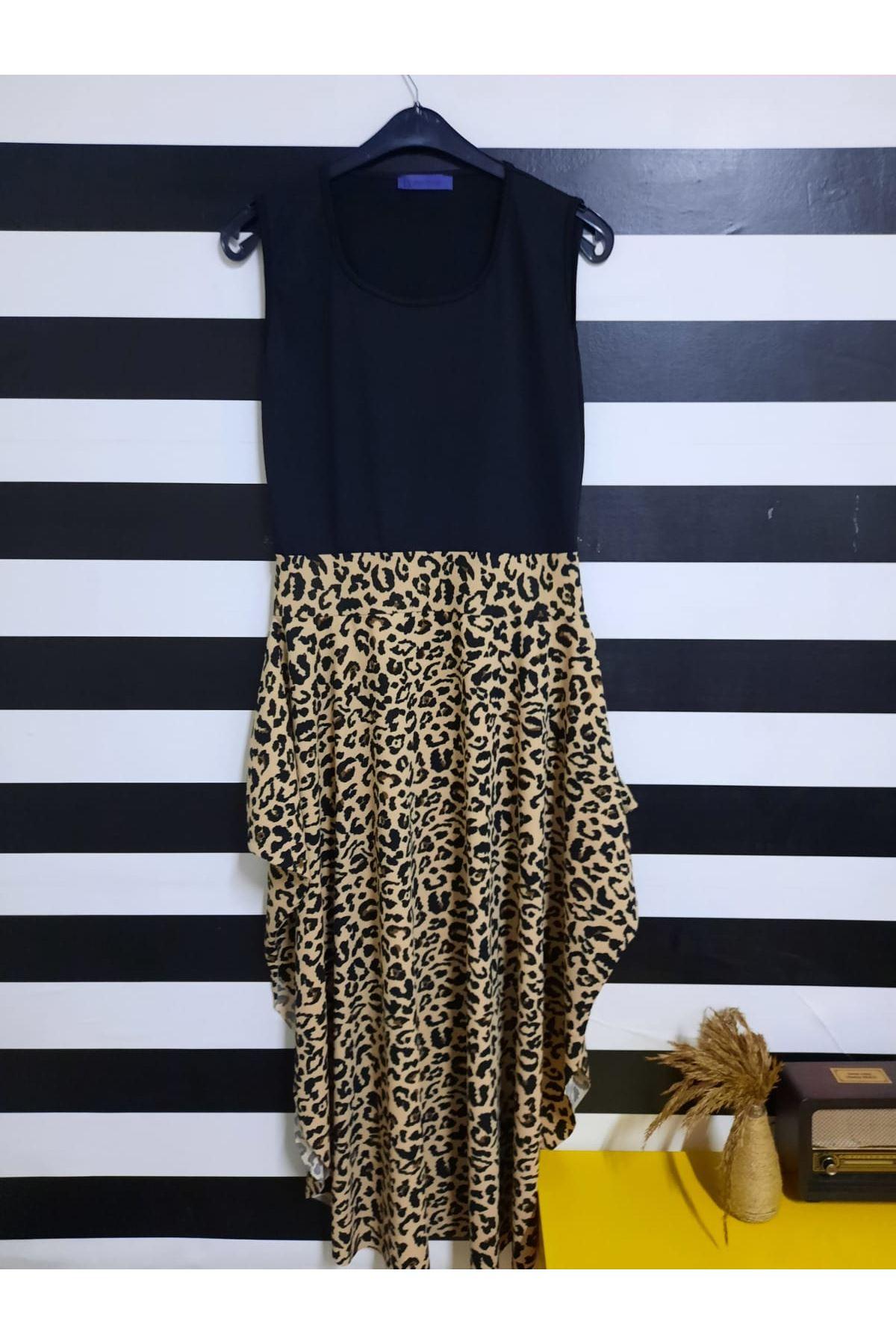 Kısa Kol Etek Desenli Elbise - LEOPAR