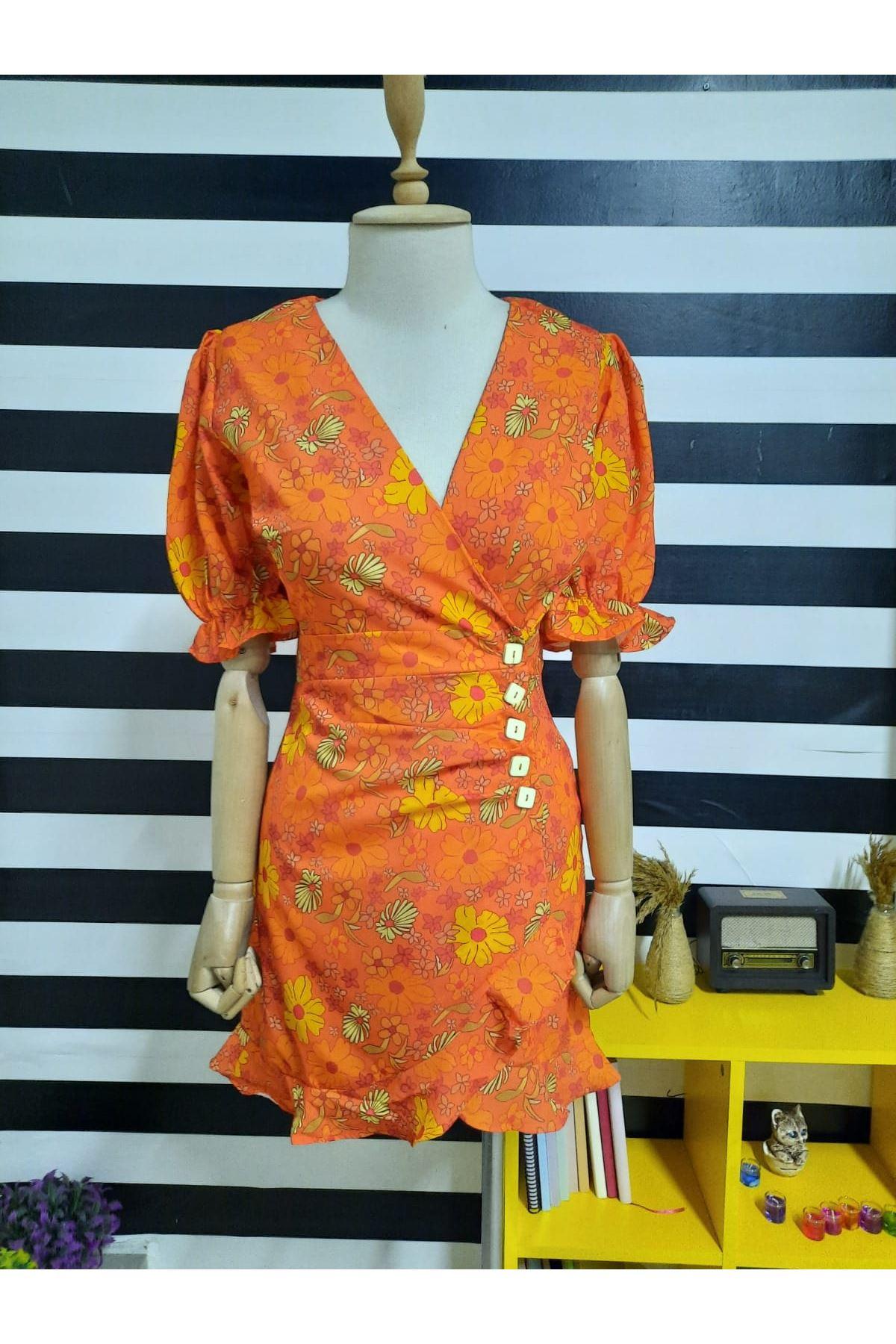 V Yaka Bel Düğme Detaylı Elbise - TURUNCU