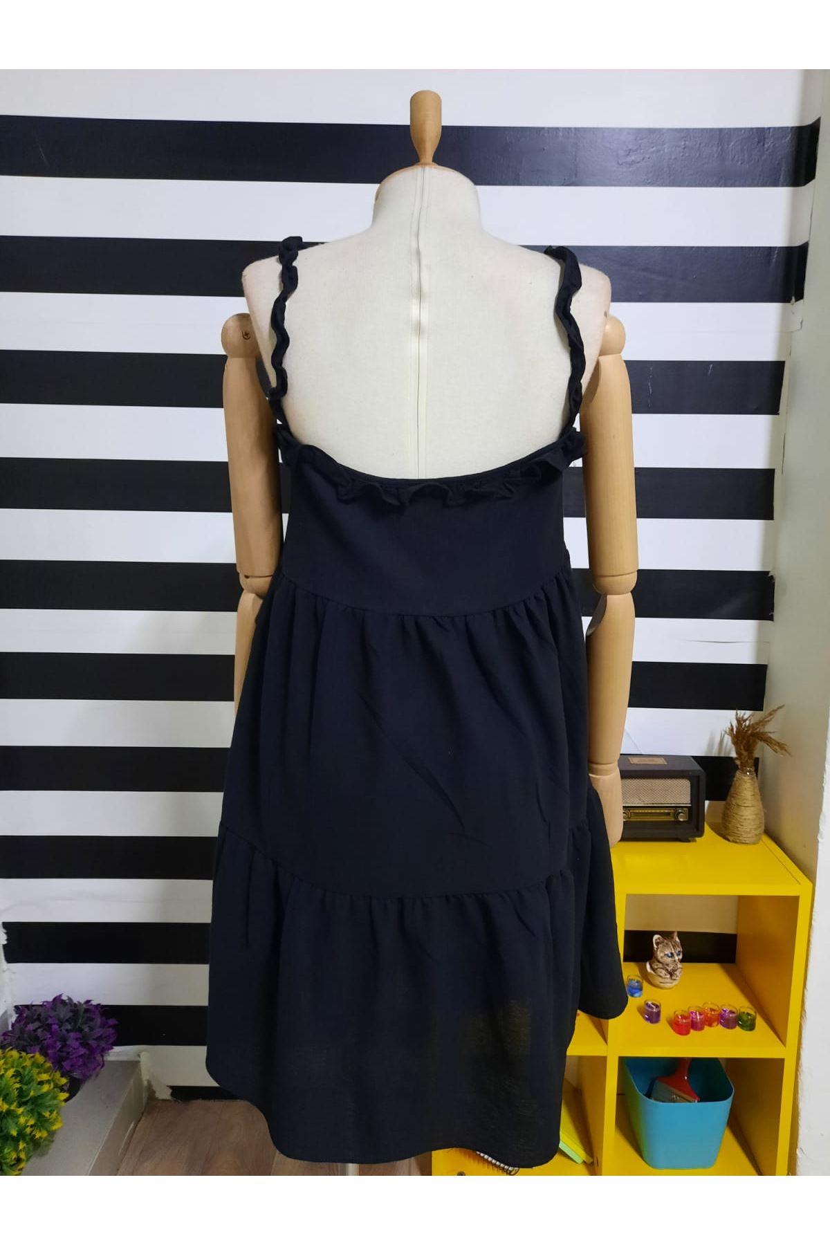 Askılı Fırfır Detaylı Keten Elbise - SİYAH