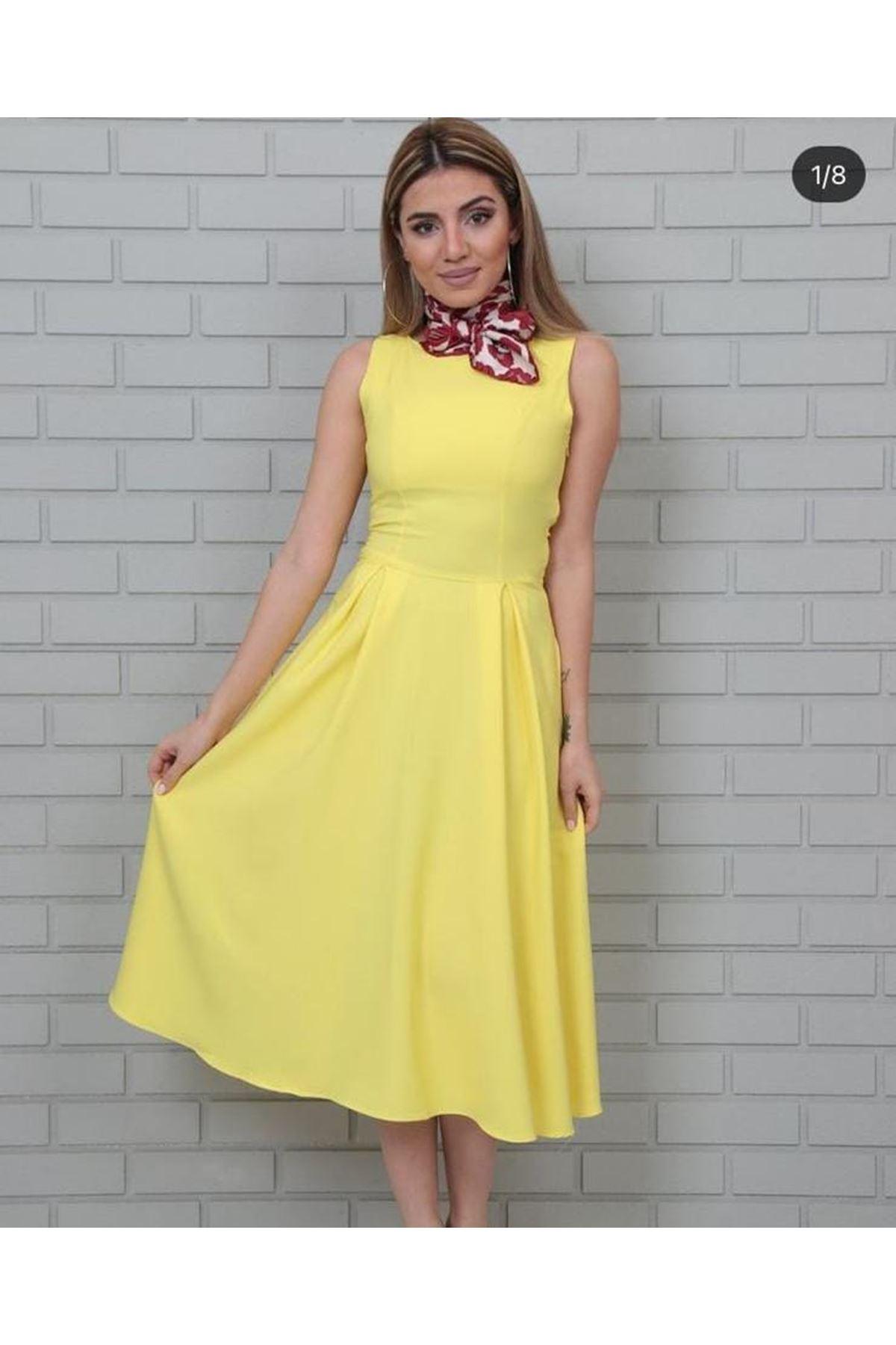 Kolsuz Midiboy Elbise - SARI